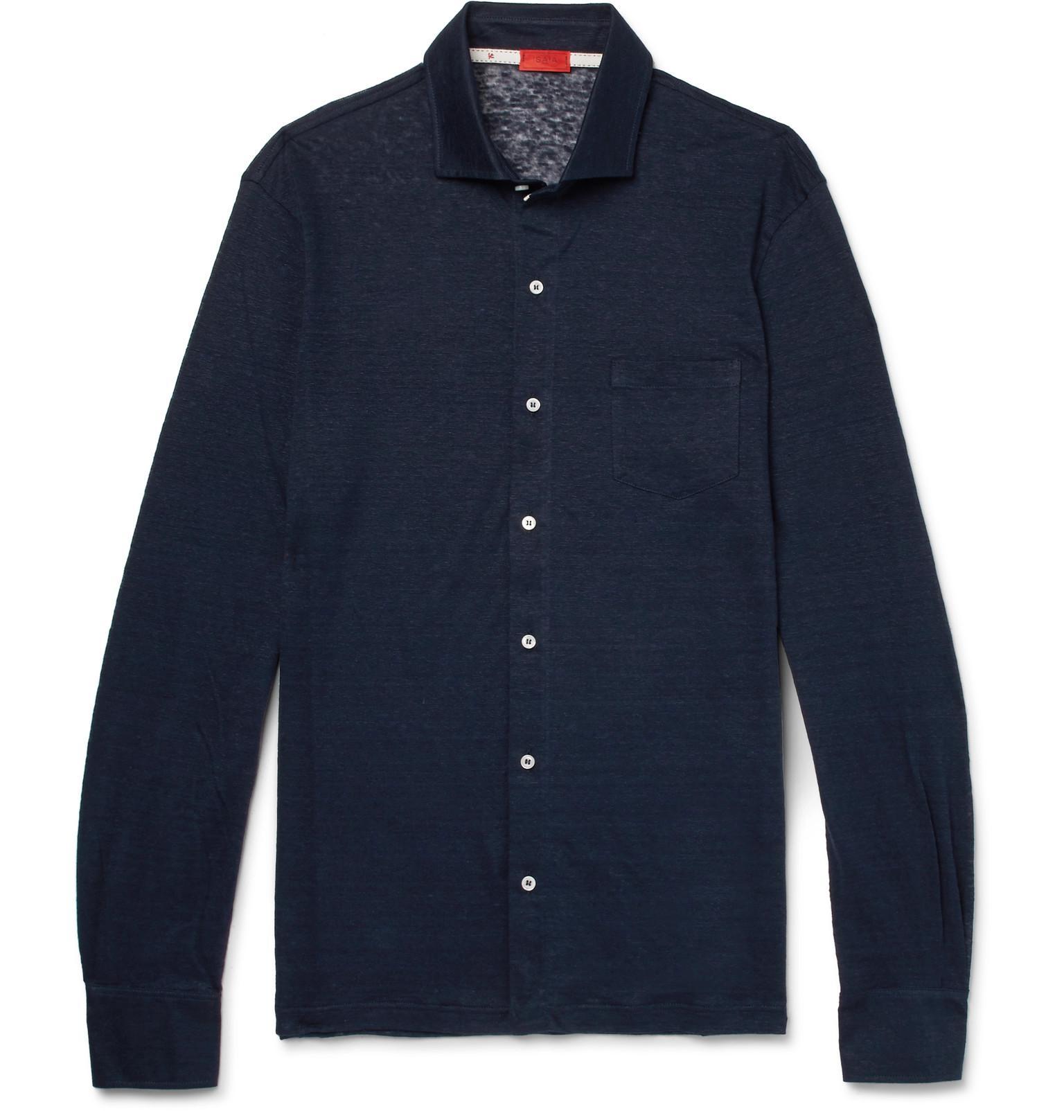 ISAIA Slim-fit Slub Linen-jersey Shirt - Navy vJ8ERT1F1