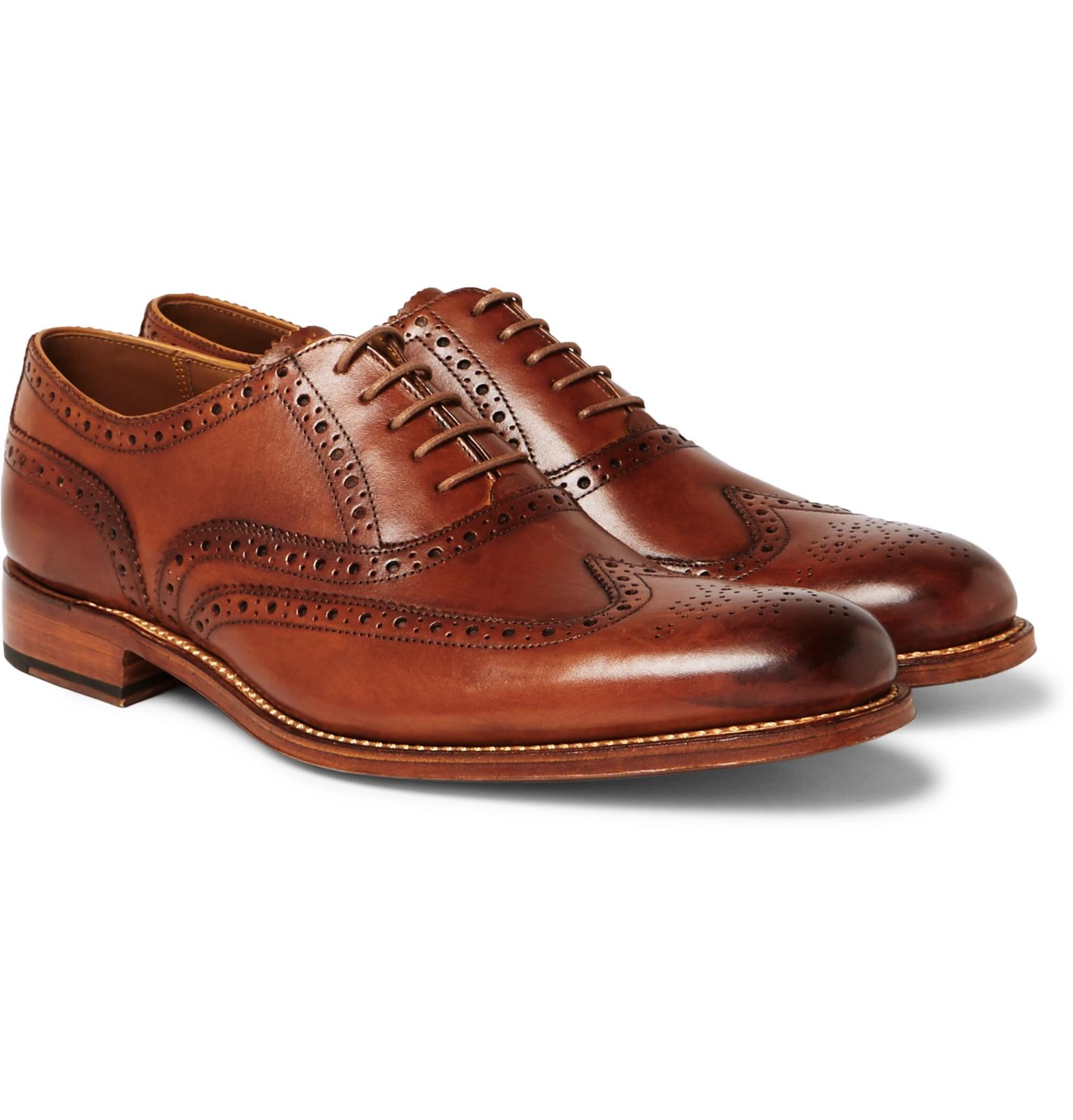 e21c6f98650a GRENSON - Brown Dylan Burnished-leather Wingtip Brogues for Men - Lyst.  View fullscreen