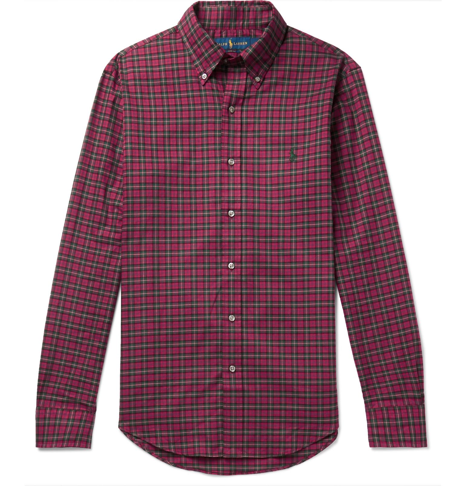 1806ecf738ef Polo Ralph Lauren. Men s Red Slim-fit Button-down Collar Checked Brushed-cotton  Shirt