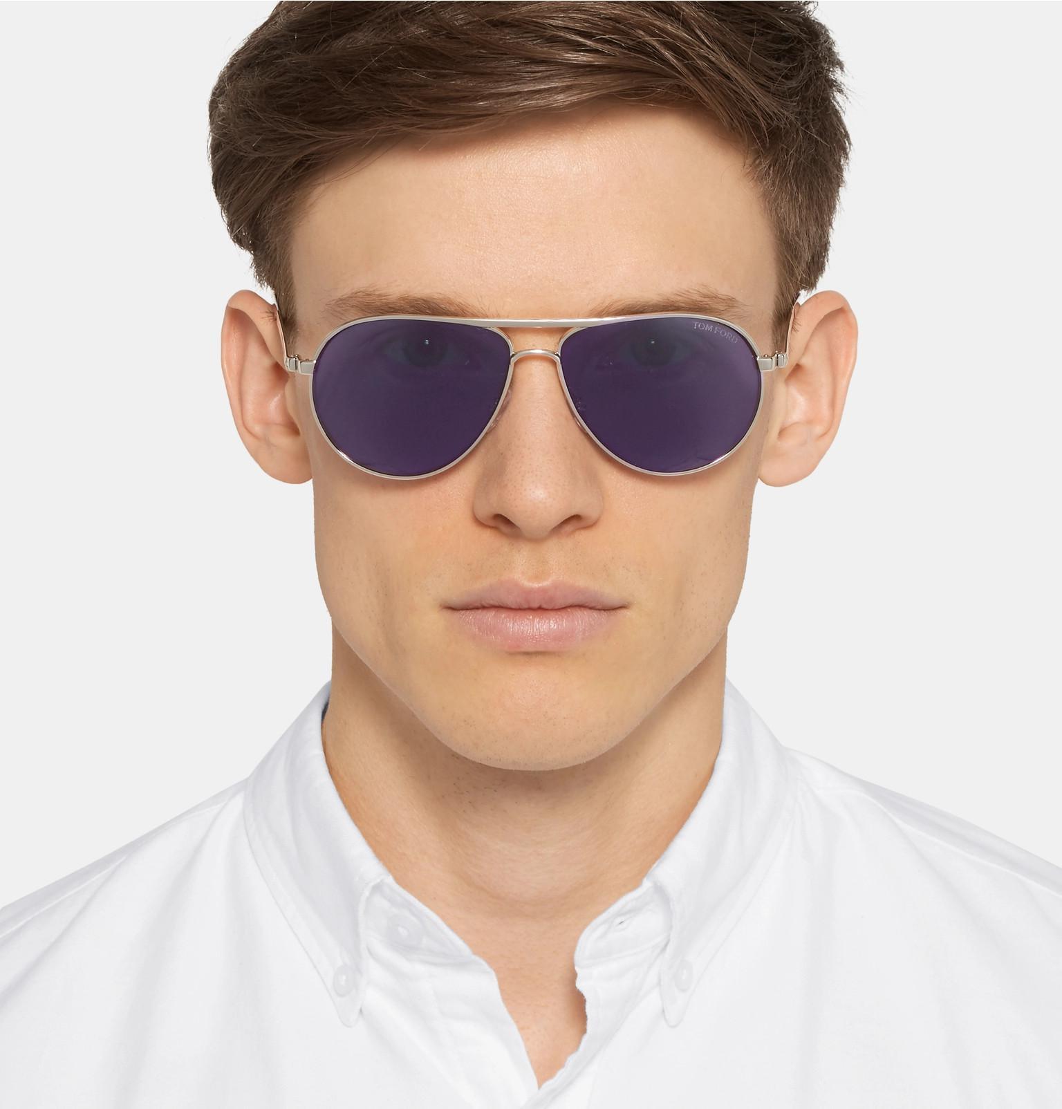 d6b2264389794 Tom Ford - Metallic Marko Aviator-style Silver-tone Sunglasses for Men -  Lyst. View fullscreen