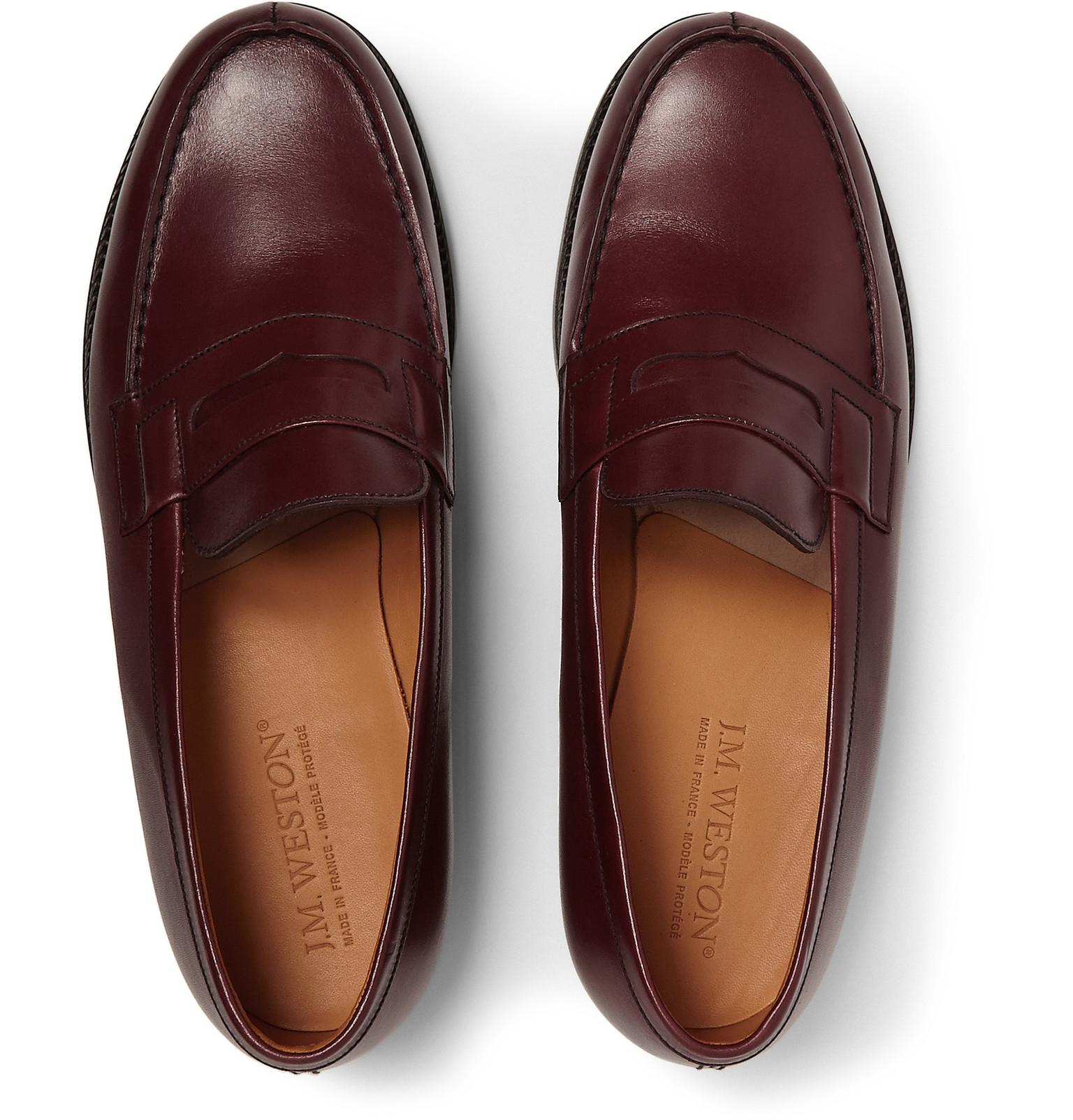 J.M. Weston 180 Mocassin Leather Loafers in Burgundy (Purple) for Men