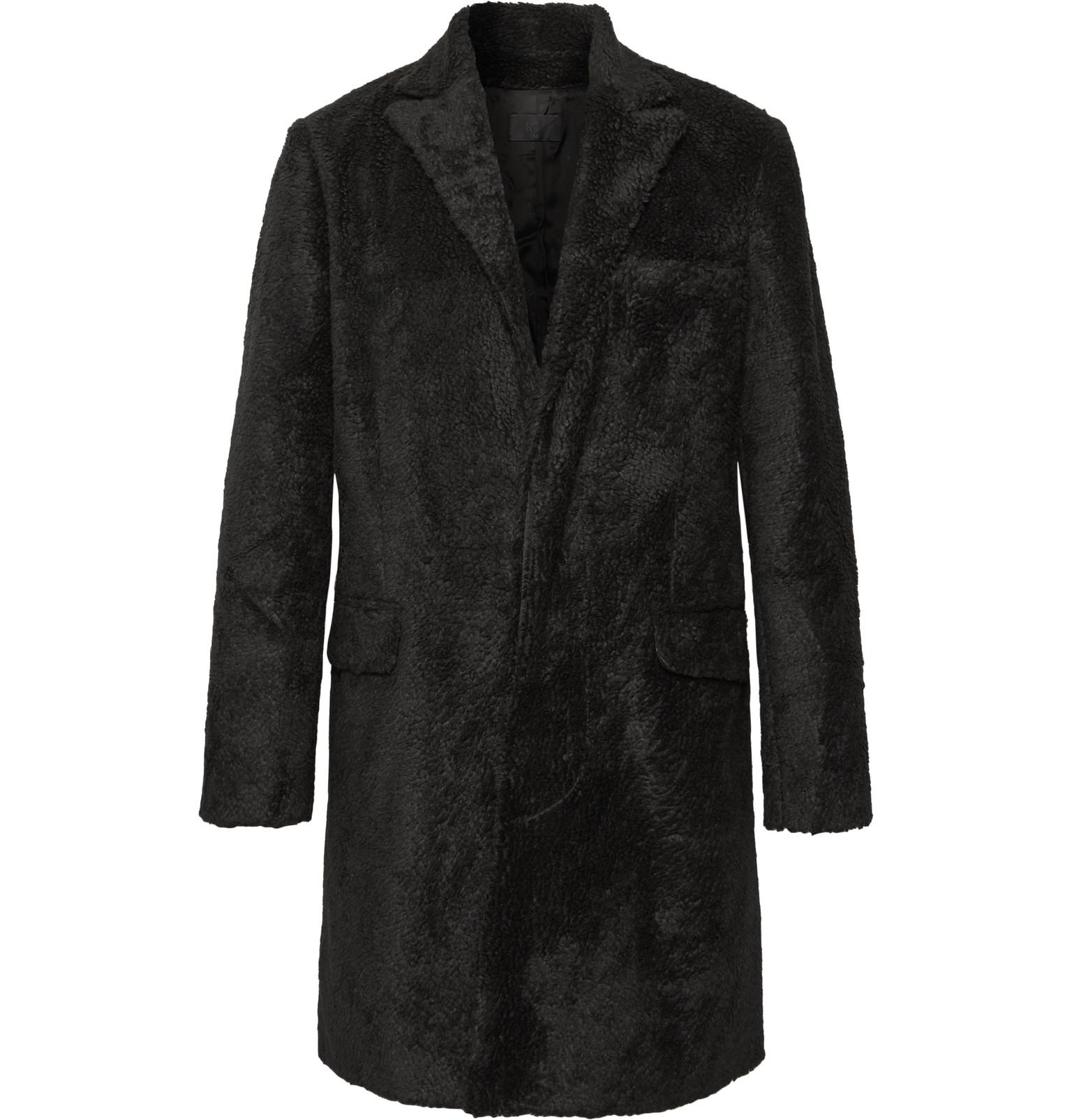 Faux Men's Black Shearling Coat Rta ER4CBqWW