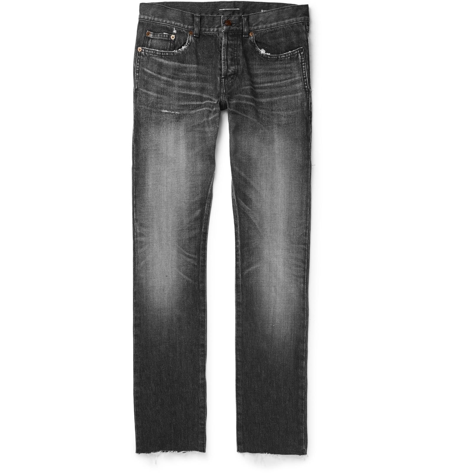 Slim-fit 17cm Paint-splattered Denim Jeans Saint Laurent HjUkTKS