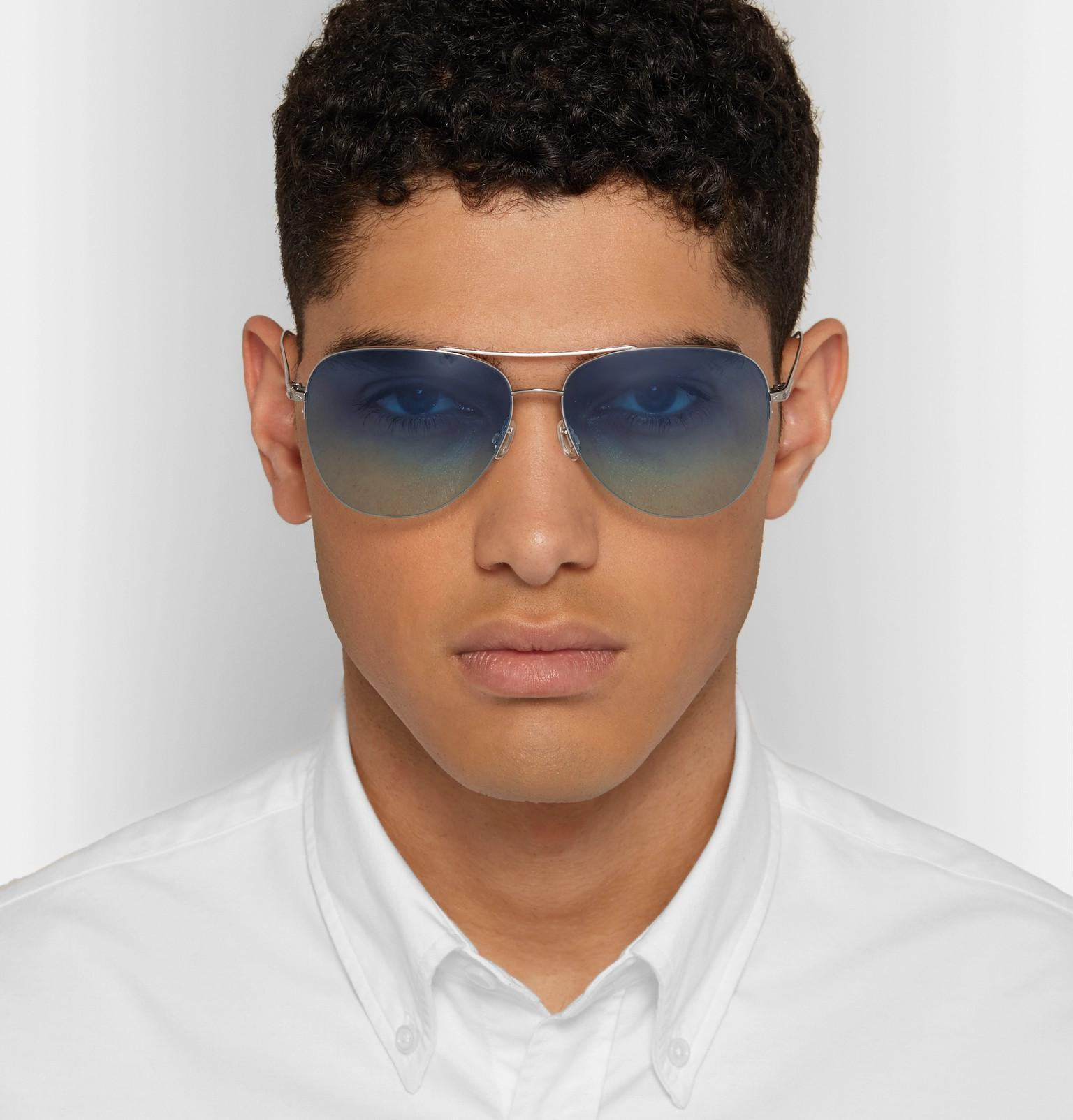 Barton Perreira Chevalier Aviator-style Silver-tone Titanium Sunglasses in Metallic for Men