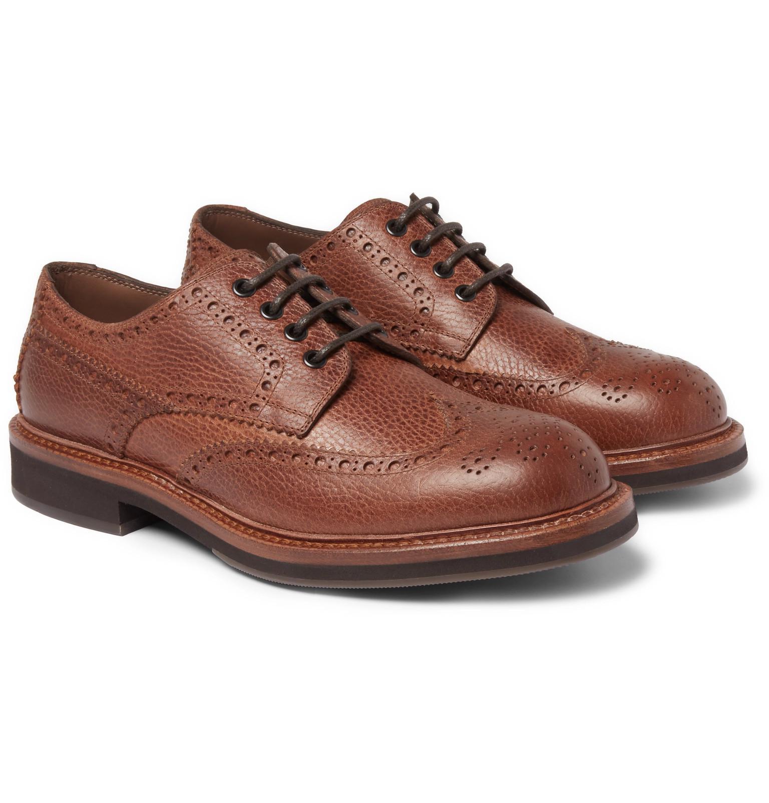 Burnished-leather Cap-toe Derby Shoes Brunello Cucinelli 8SC5Qp