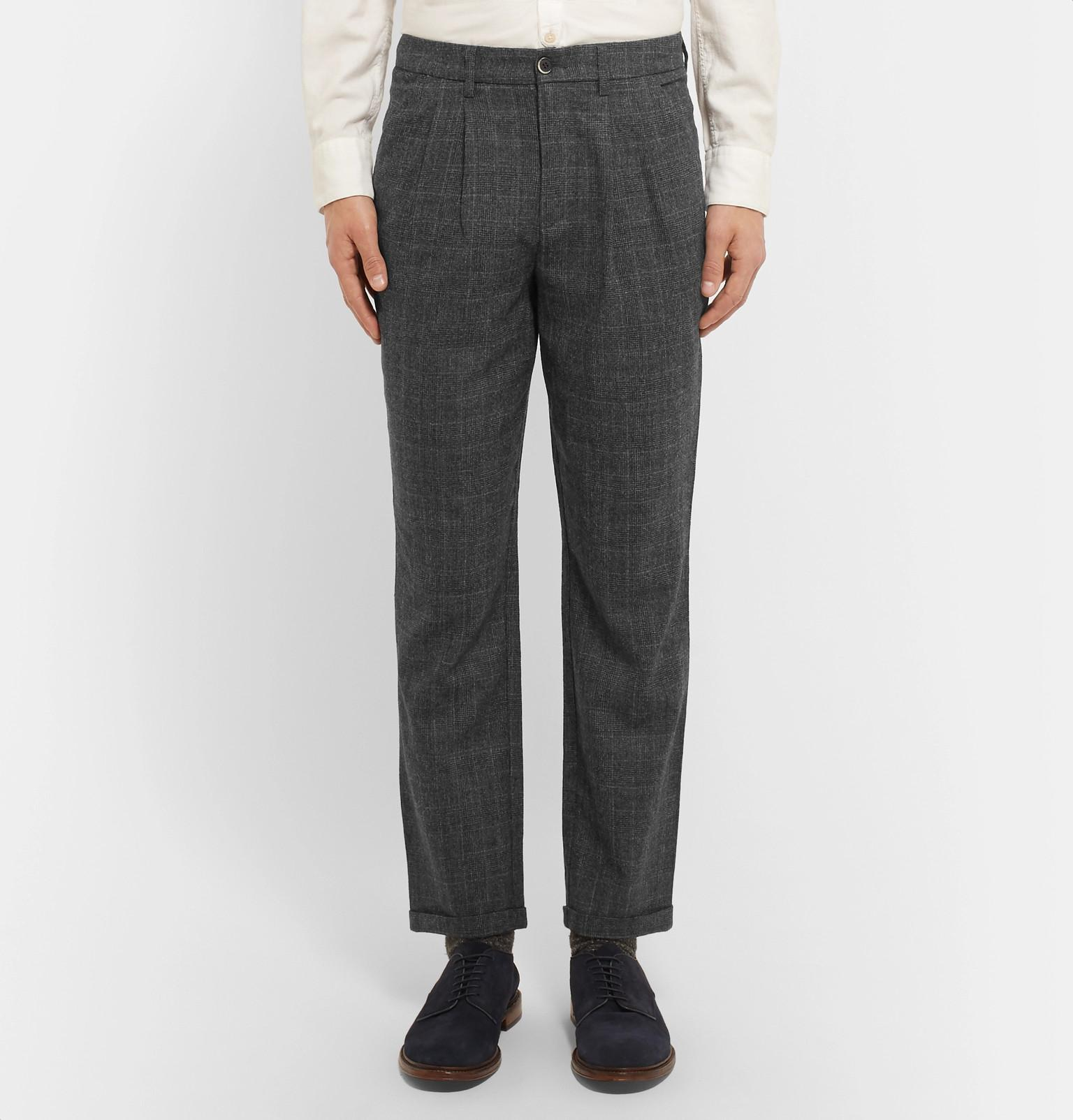 107b6ed261 Barena Gray Slim-fit Tapered Prince Of Wales Checked Wool Trousers for men