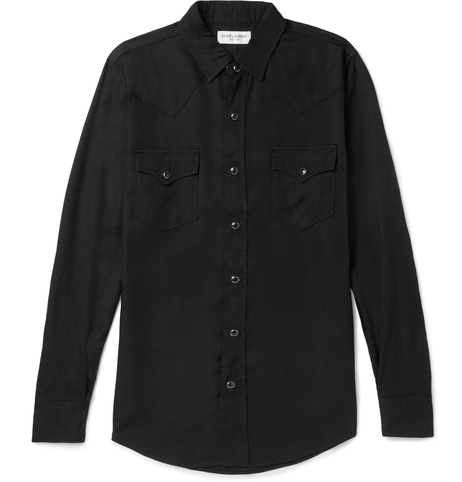 cec46b276a9 Saint Laurent Ysl 70s Western Shirt In Black Rinse Lyocell Twill in ...