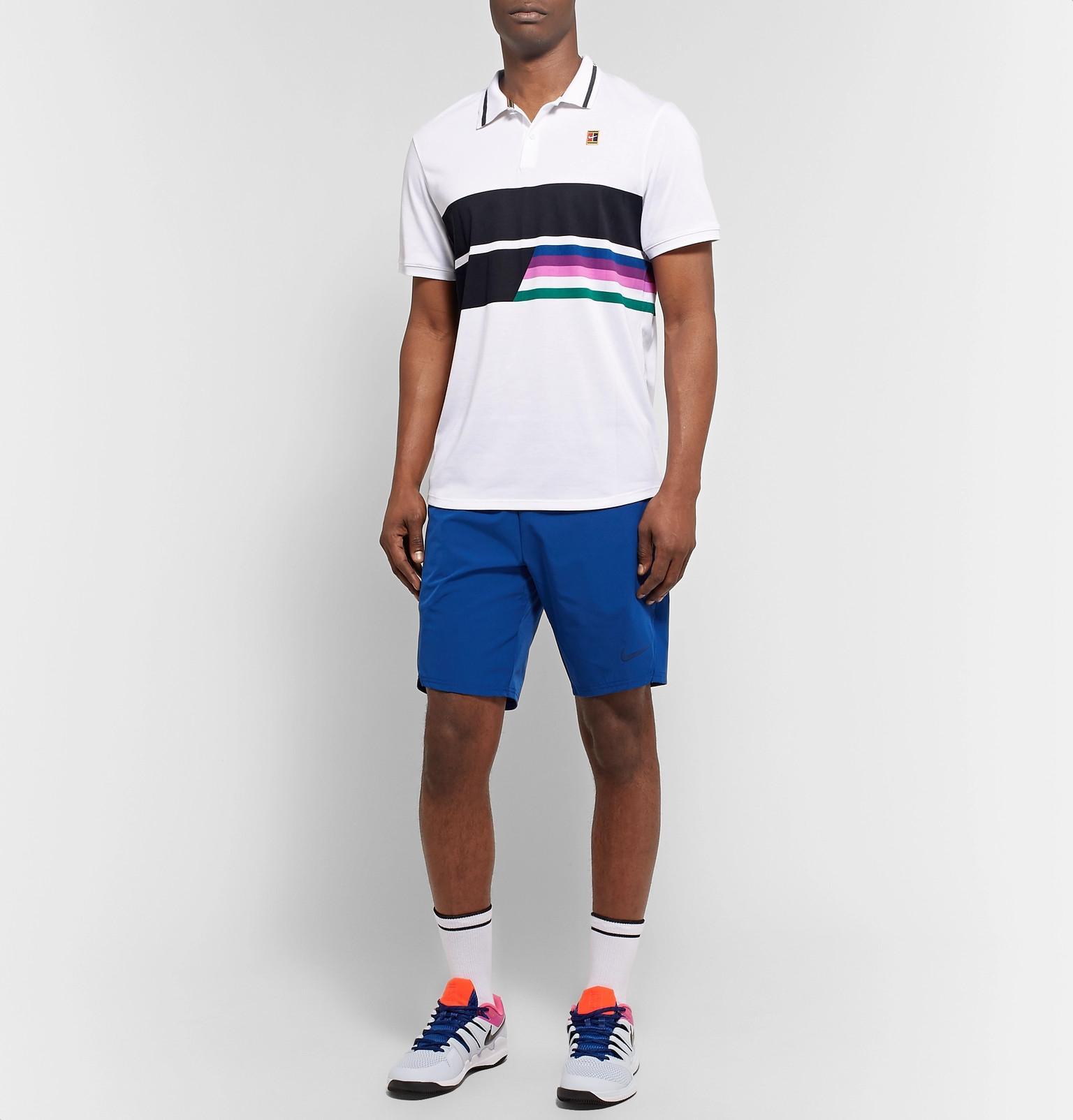 ae56340e6 Nike - White Nikecourt Advantage Printed Dri-fit Tennis Polo Shirt for Men  - Lyst. View fullscreen