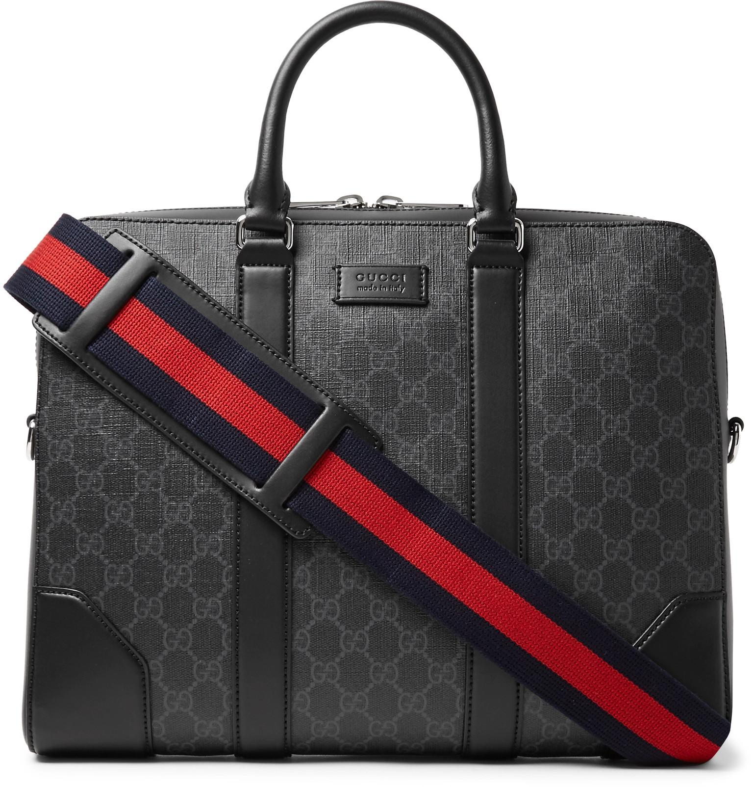 b0f9b9db6cbe82 Gucci. Men's Black Leather-trimmed Monogrammed Coated-canvas Briefcase