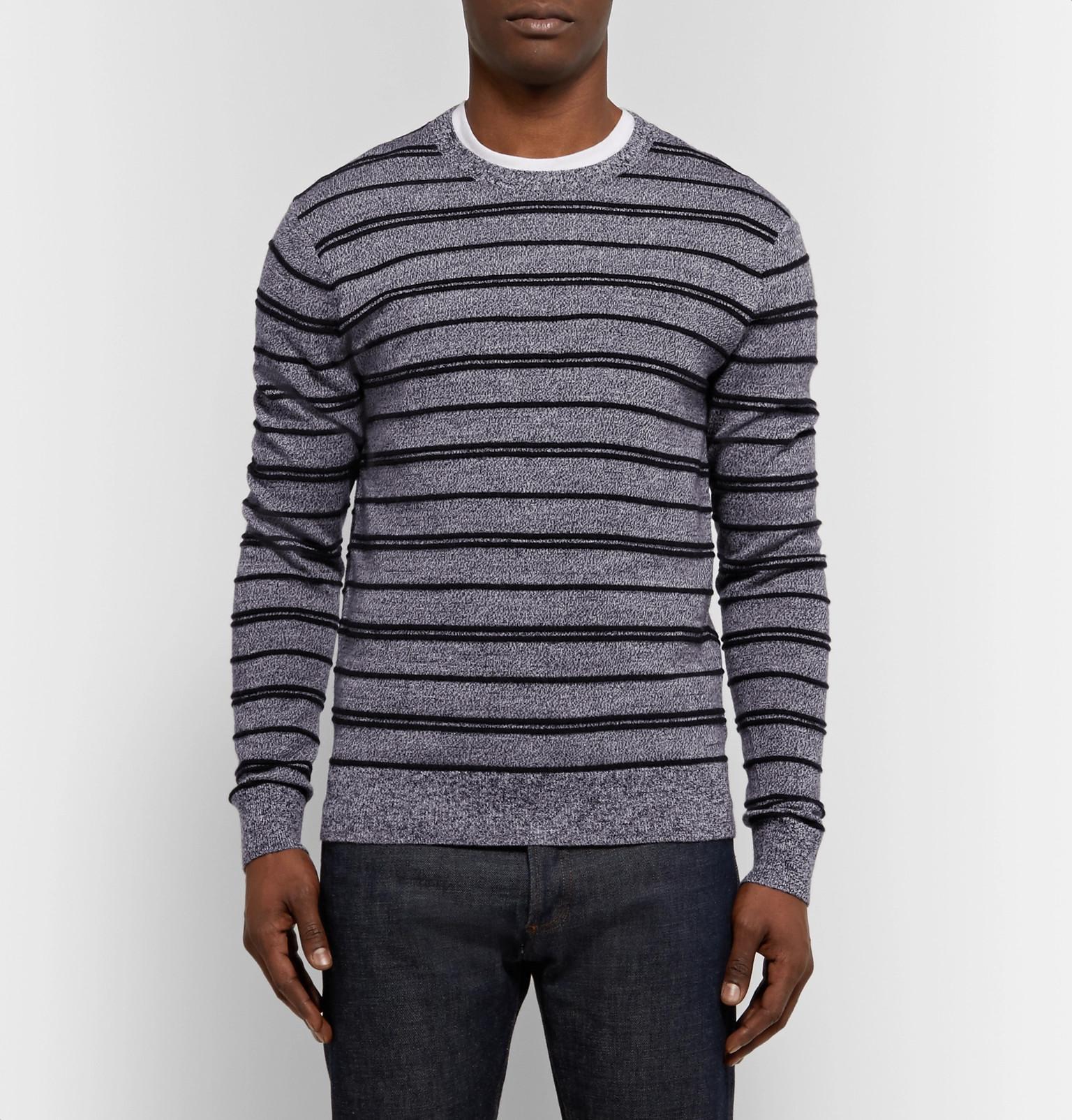 Club Monaco Striped Merino Wool Sweater in Black for Men
