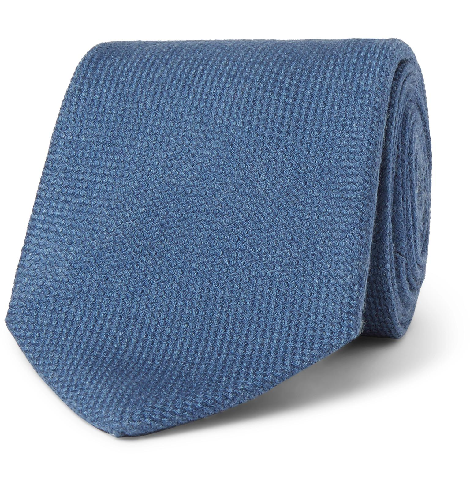 8cm Herringbone Silk And Cotton-blend Tie Drake's aiRRG