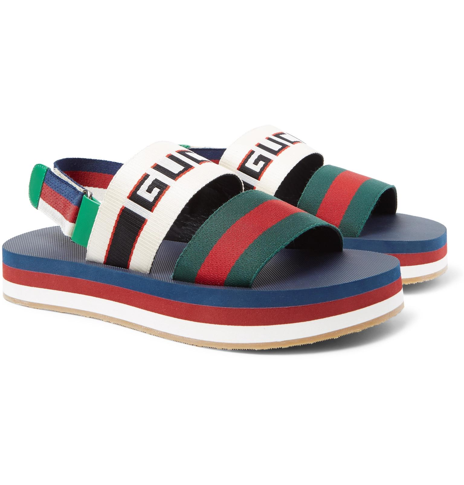ee9128472bf3 Gucci - Blue Webbing-trimmed Rubber Sandals for Men - Lyst. View fullscreen