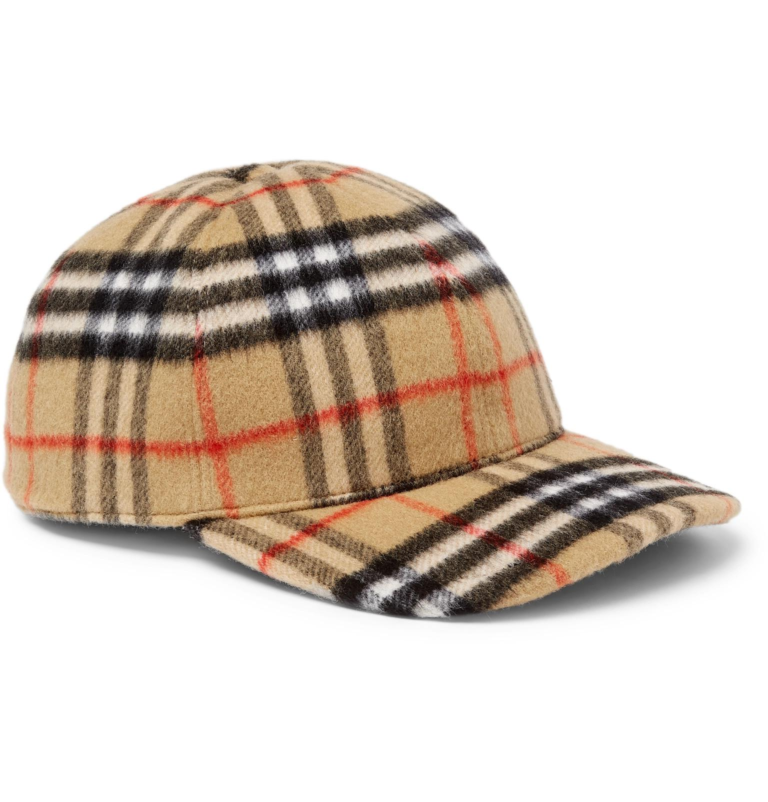 00d189debc2 Lyst - Burberry Checked Brushed-wool Baseball Cap in Brown for Men ...