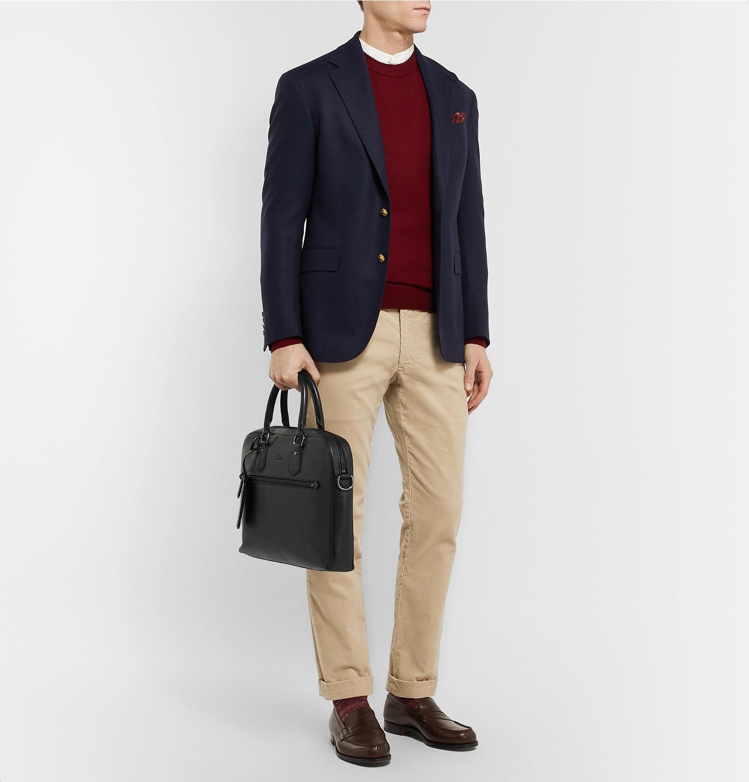 0a1e93afecf5 Polo Ralph Lauren - Black Pebble-grain Leather Briefcase for Men - Lyst.  View fullscreen