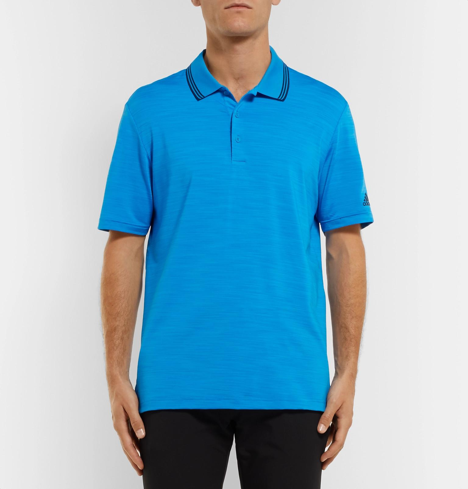 adidas Originals Ultimate 365 Contrast-tipped Mélange Stretch-jersey Polo Shirt in Bright Blue (Blue) for Men