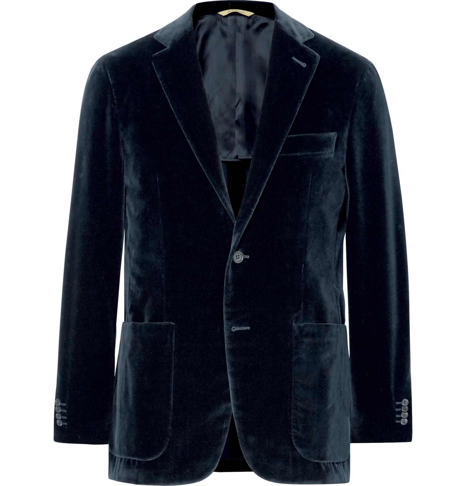 Canali Burgundy Kei Slim-fit Cotton-velvet Blazer - Burgundy