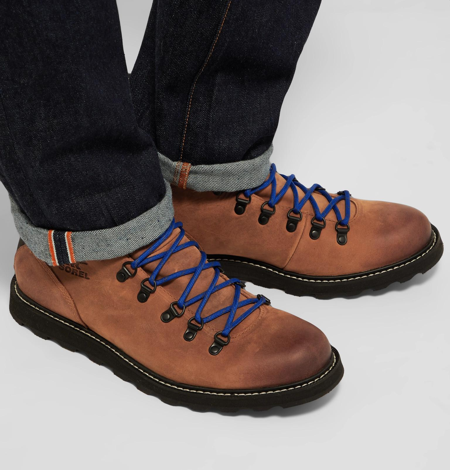 93f799a222a Sorel Blue Madson Hiker Waterproof Leather And Rubber-trimmed Nubuck Boots  for men