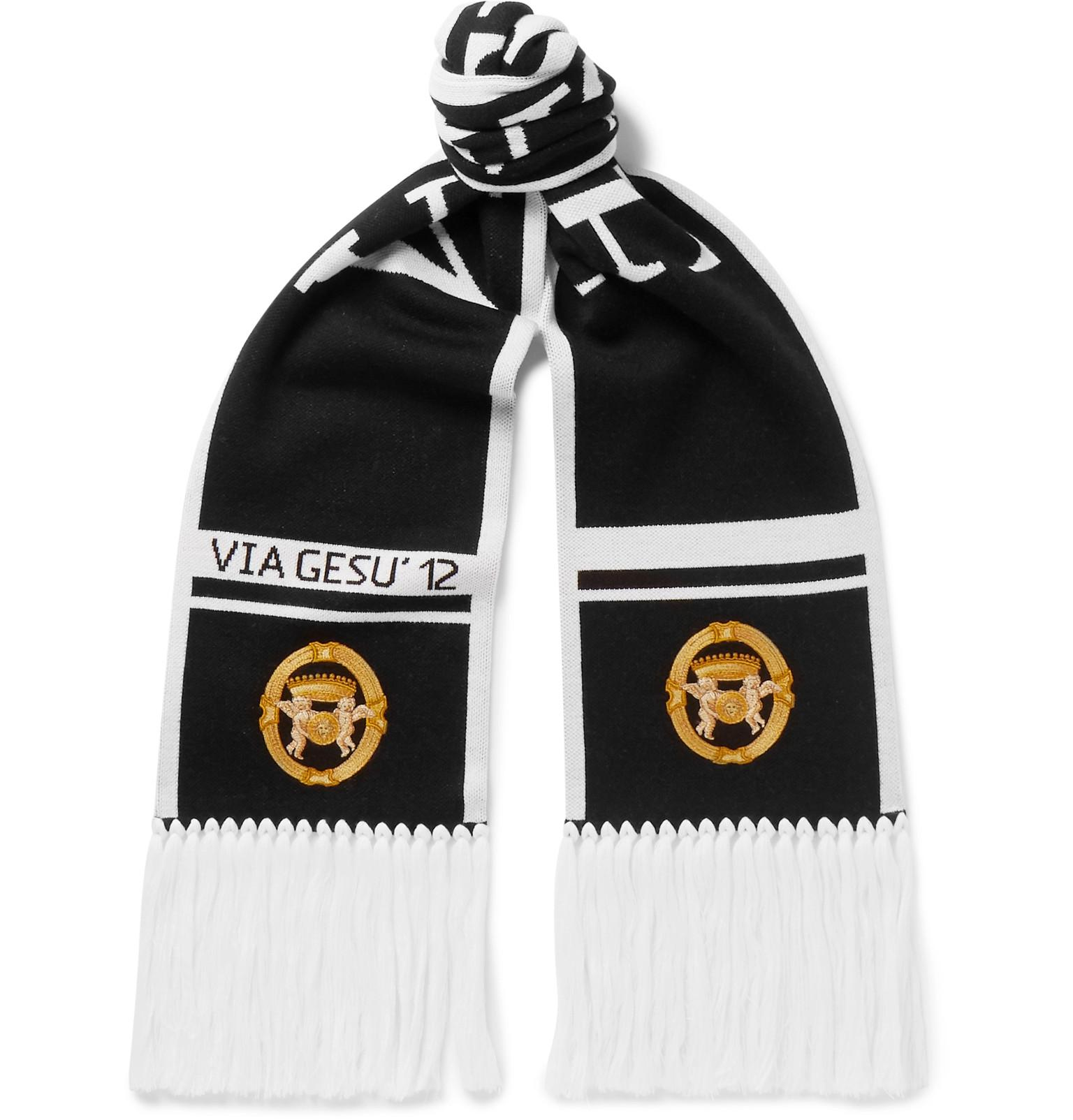 f032574dc06f Versace Fringed Logo-intarsia Wool Scarf in Black for Men - Lyst