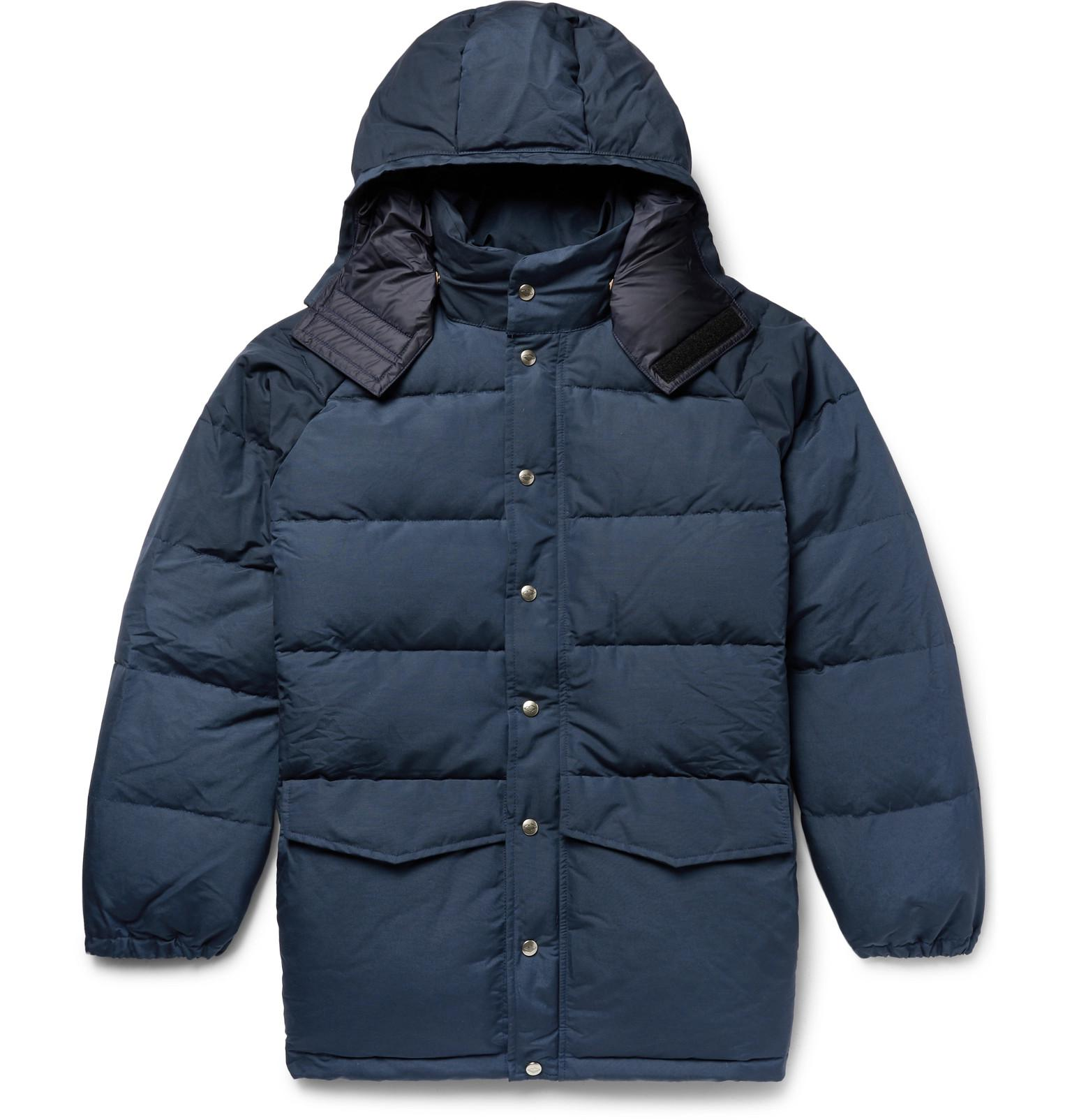 Blue Canvas Down Quilted Battenwear Hooded Cotton Men's Blend Jacket vqXFxnw56a