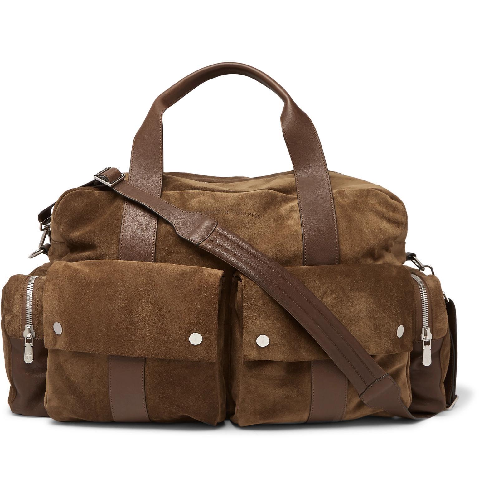 Brunello Cucinelli Suede And Full-grain Leather Holdall in Brown for ... ce5487e32ec0e
