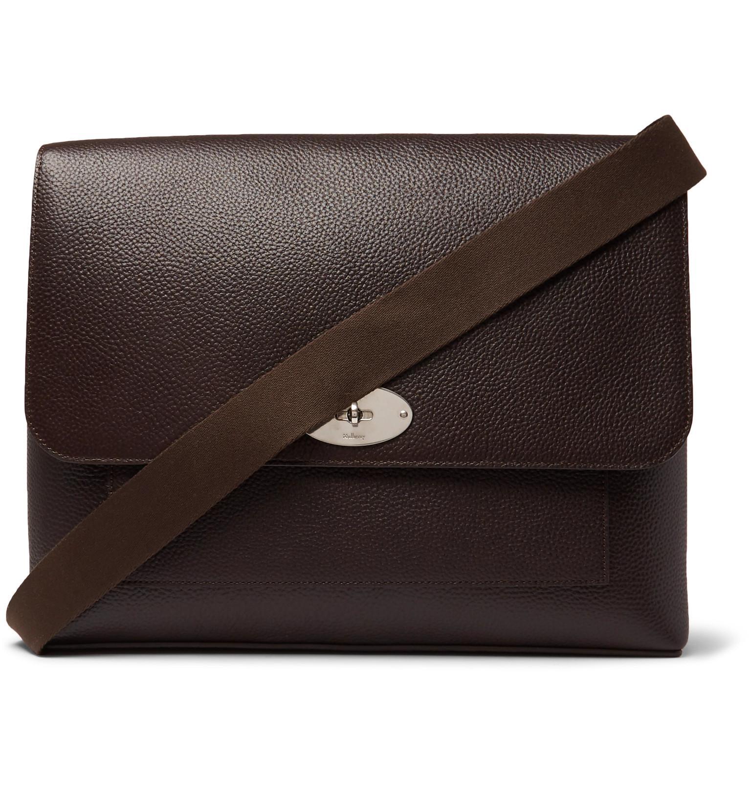 Mulberry. Men s Brown East West Antony Padlock Pebble-grain Leather  Messenger Bag e744dfffab25a