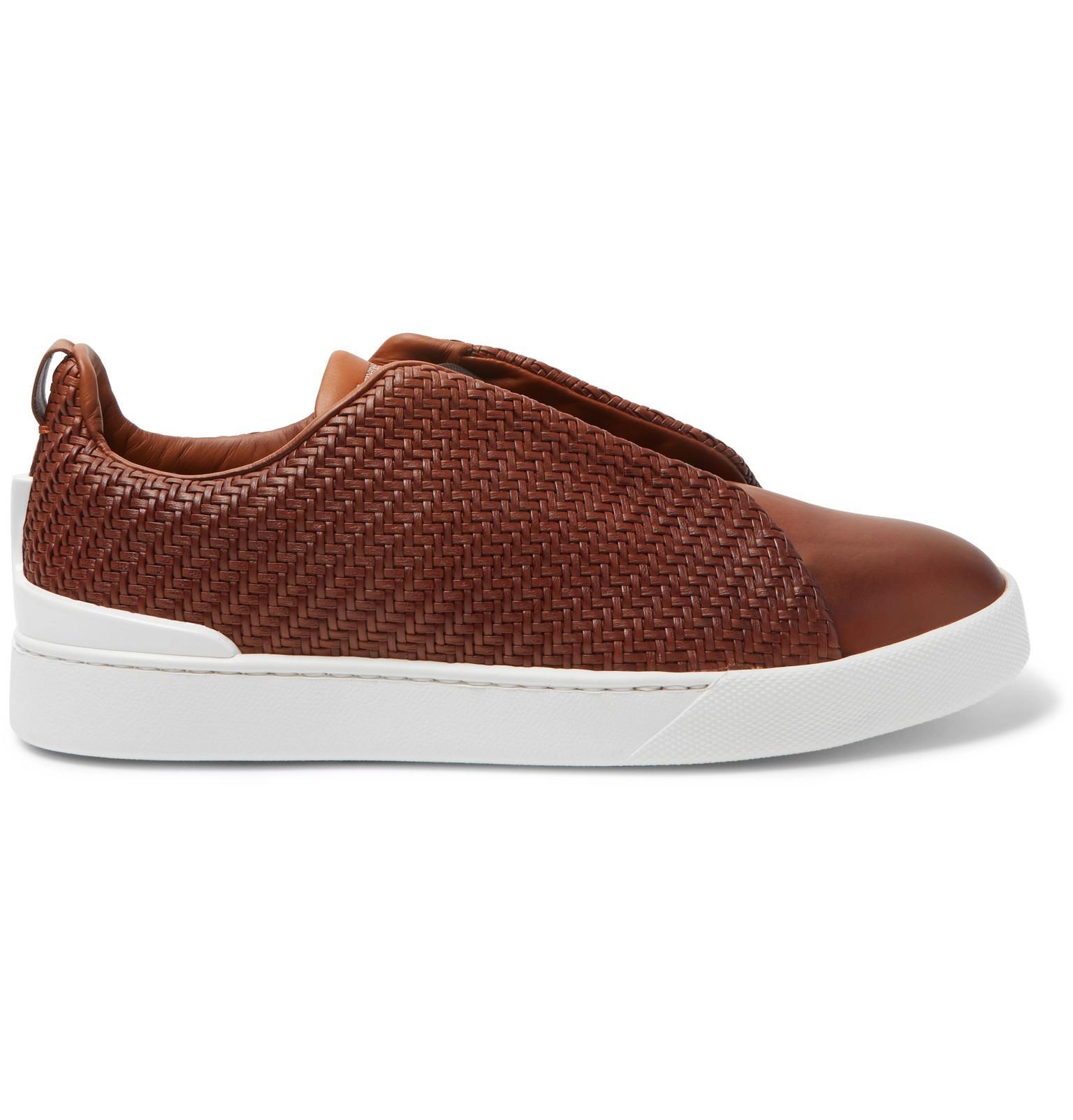 cbd60ad0 Ermenegildo Zegna Brown Triple Stitch Pelle Tessuta Leather Slip-on  Sneakers for men