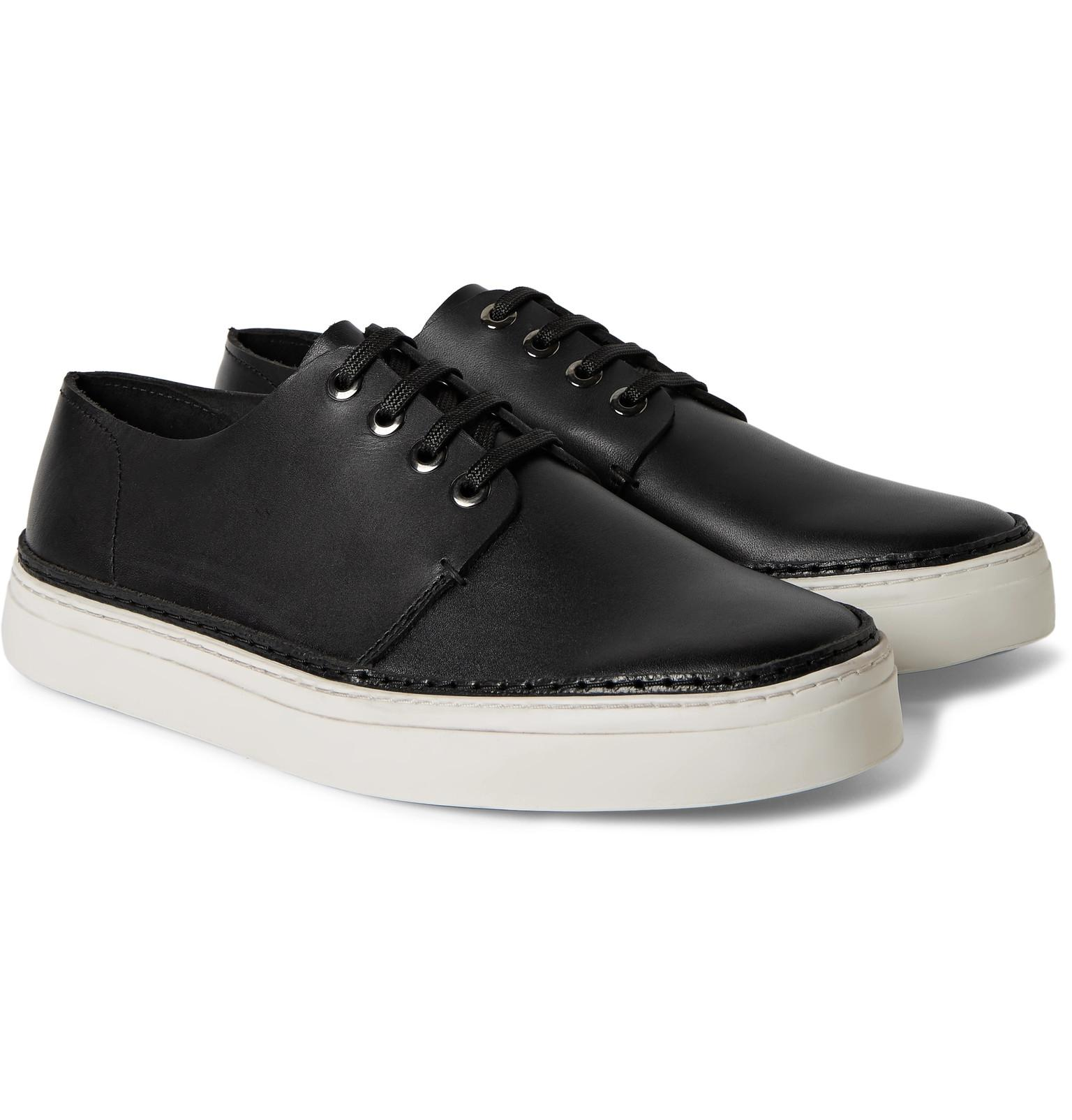 Lyst Cos Raw Edged Leather Sneakers In Black For Men