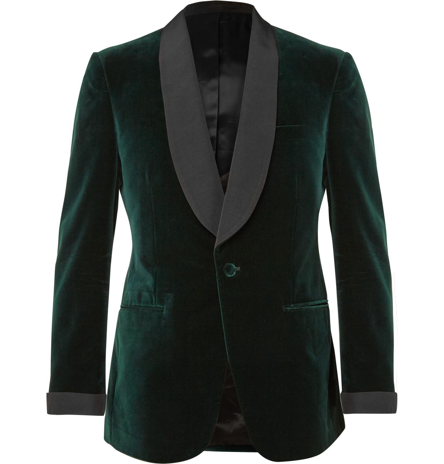 Kingsman Green Slim Fit Silk Faille Trimmed Velvet Tuxedo