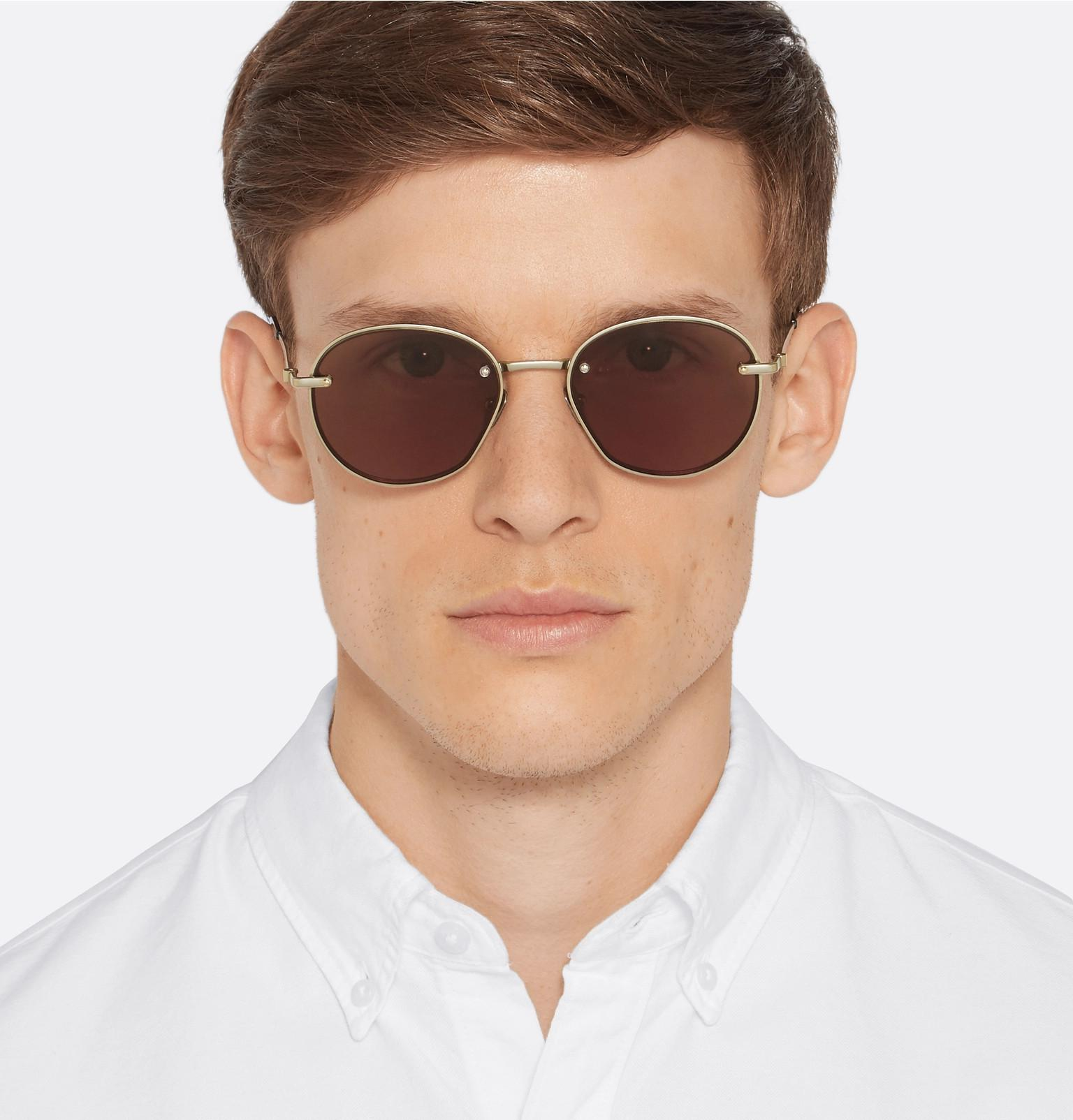 Brioni Leather Round-frame Gold-tone Sunglasses in Metallic for Men