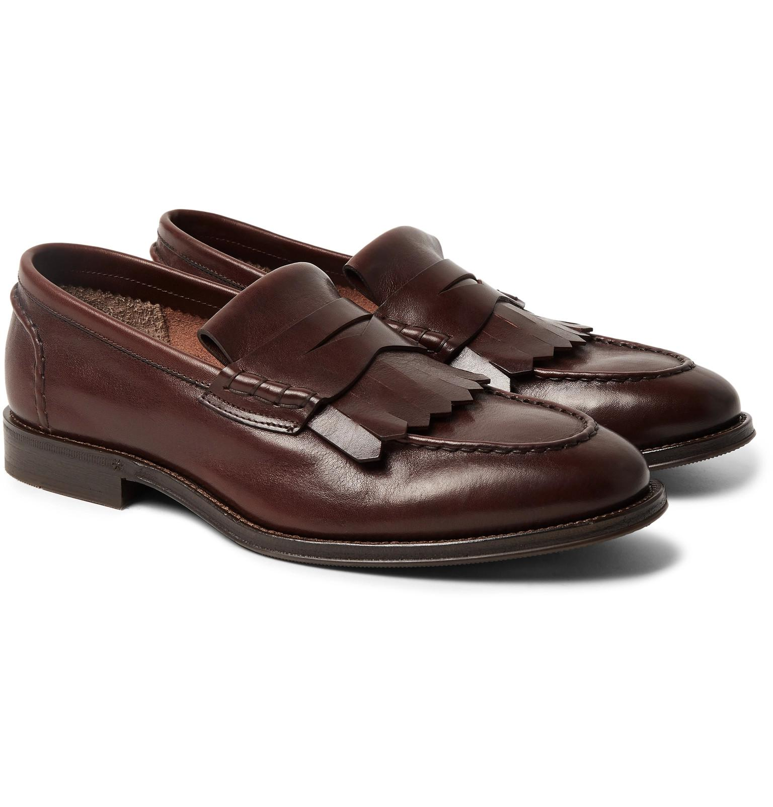 Brunello Cucinelli. Men's Brown Leather Kiltie Loafers