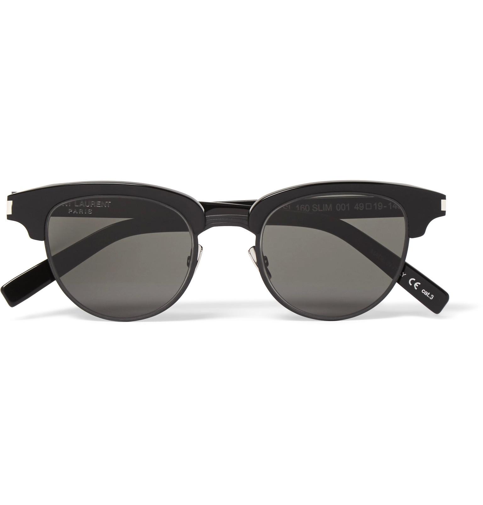 a3a4da1a5e17 Lyst - Saint Laurent D-frame Acetate And Gunmetal-tone Sunglasses in ...