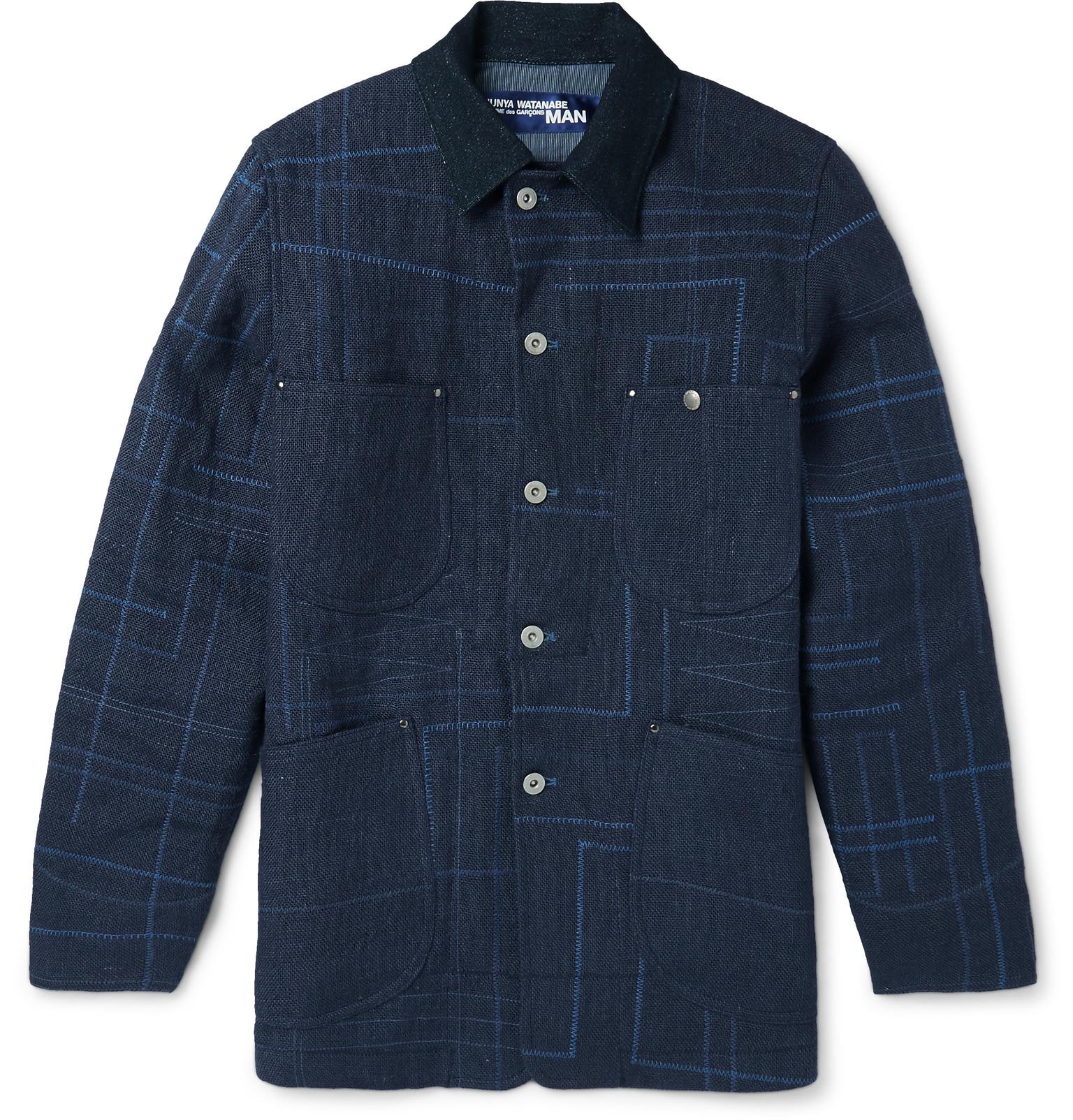 Junya Watanabe Elbow Patch Jute-canvas Jacket In Blue For Men | Lyst