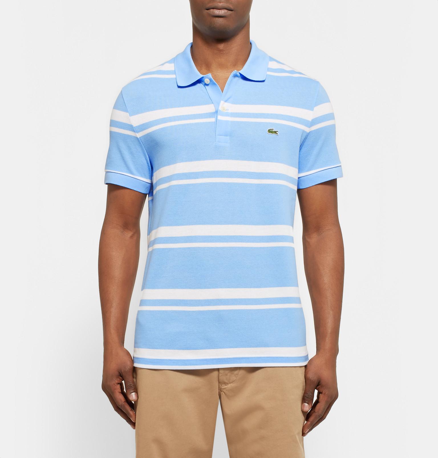 Lacoste Striped Cotton Piqu 233 Polo Shirt In Light Blue