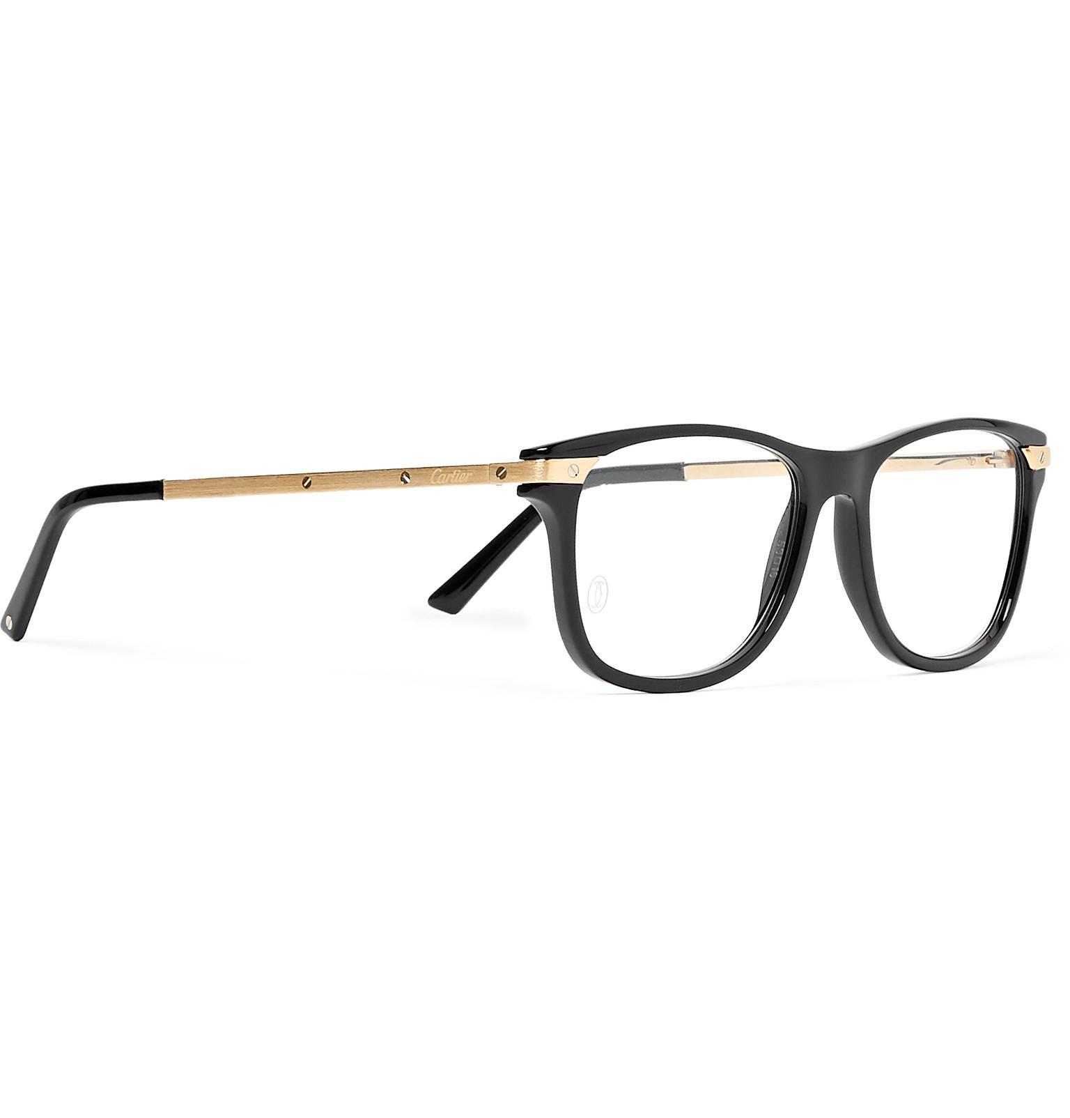 cec117d9eb Cartier - Black Square-frame Acetate And Gold-tone Optical Glasses for Men  -. View fullscreen