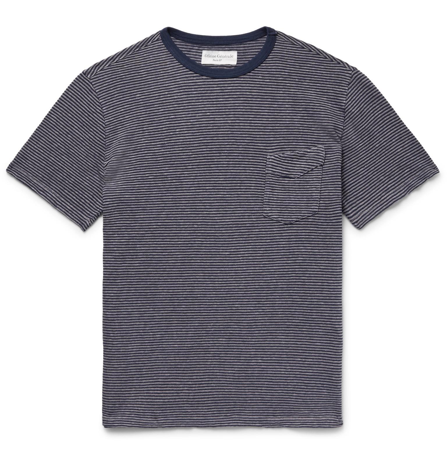 Officine Generale Garment-dyed Cotton-jersey T-shirt - Midnight blue Genuine 5HqbrIN