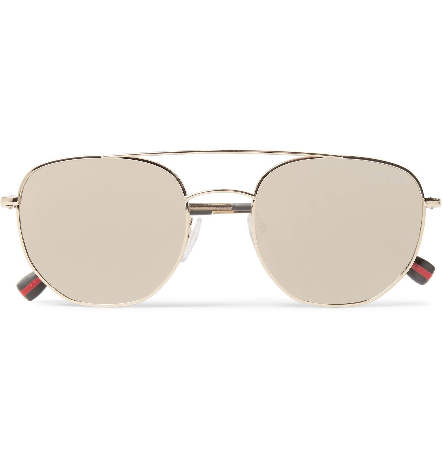 aceb5bee76 ... spain lyst prada aviator style gold tone mirrored sunglasses in  metallic bc444 930ca