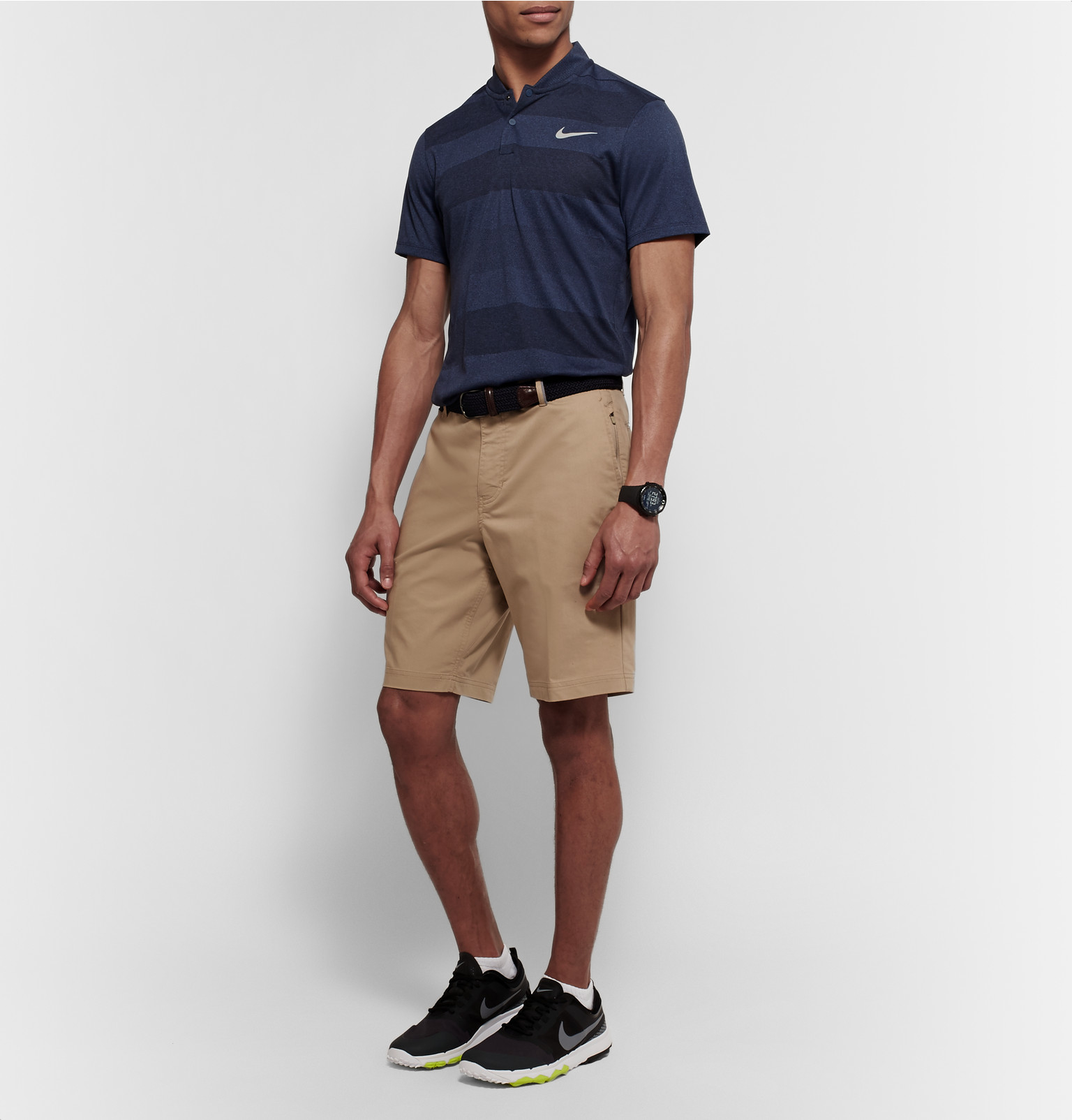 Nike Synthetic Mm Fly Blade Striped Dri-fit Jacquard-knit Polo Shirt in Navy (Blue) for Men
