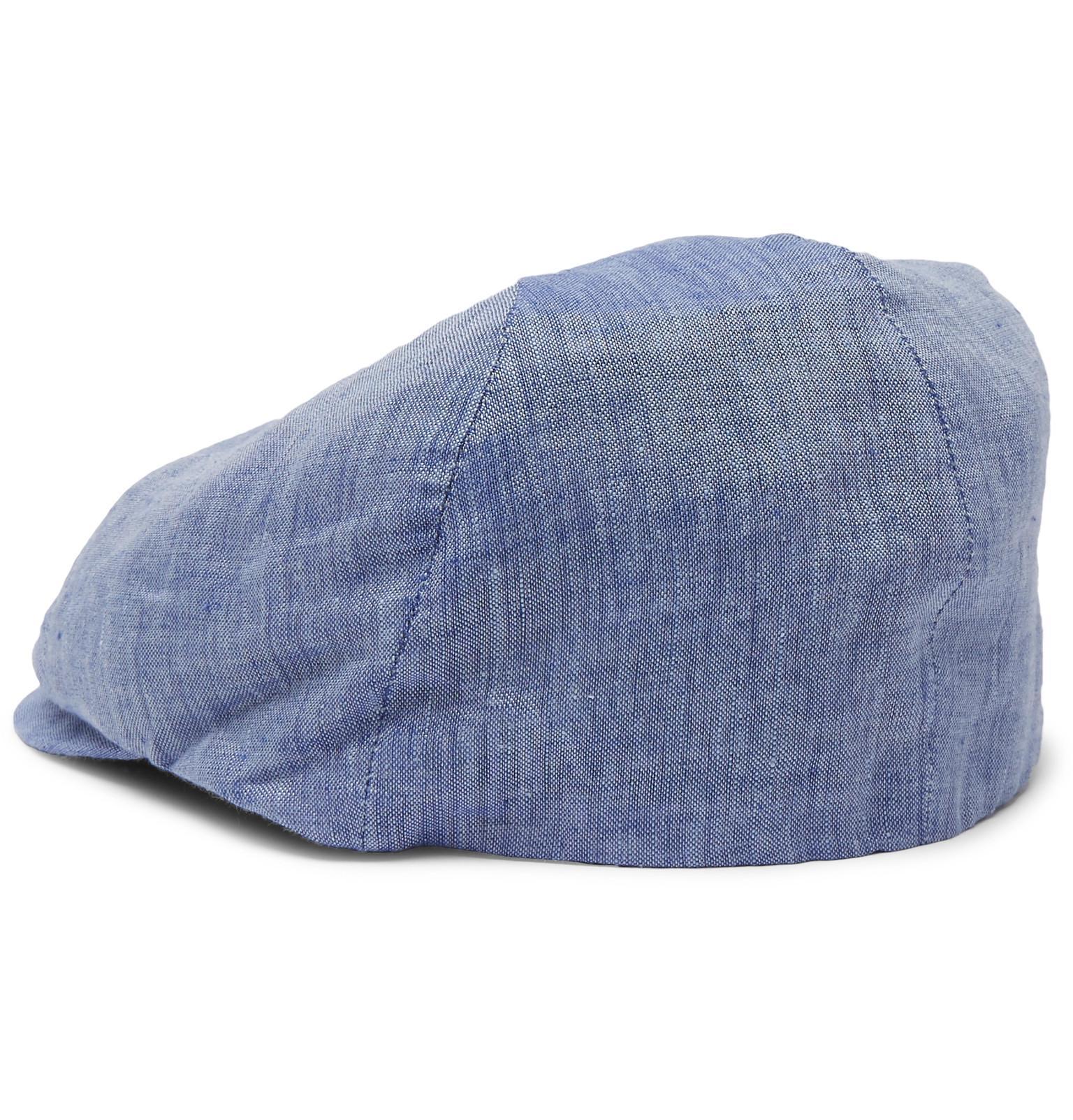 ad33b1da94c59d Lock & Co. Reverb Linen-chambray Flat Cap in Blue for Men - Lyst