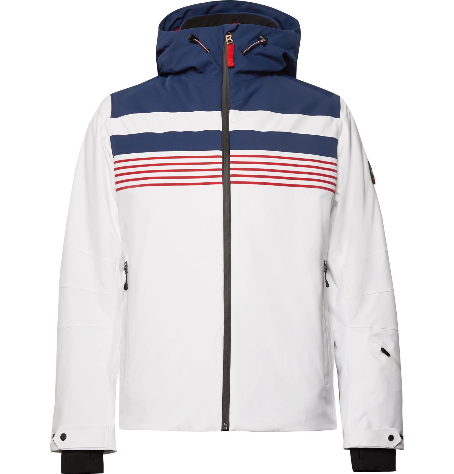 White Striped Ski Jacket Fire Ice Mendo Pk0wOn