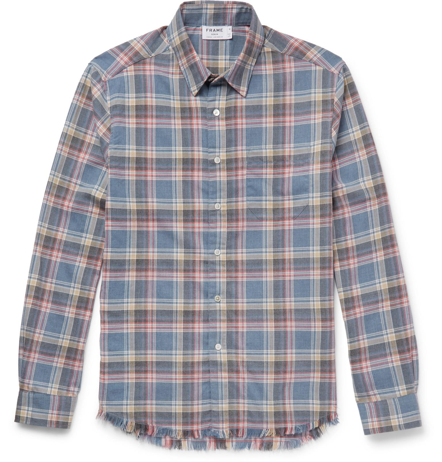 Buy Cheap Wholesale Price Cheap Sale Largest Supplier Slim-fit Checked Flannel Shirt Frame Denim Countdown Package Cheap Online Marketable Cheap Price H2YTHCIA