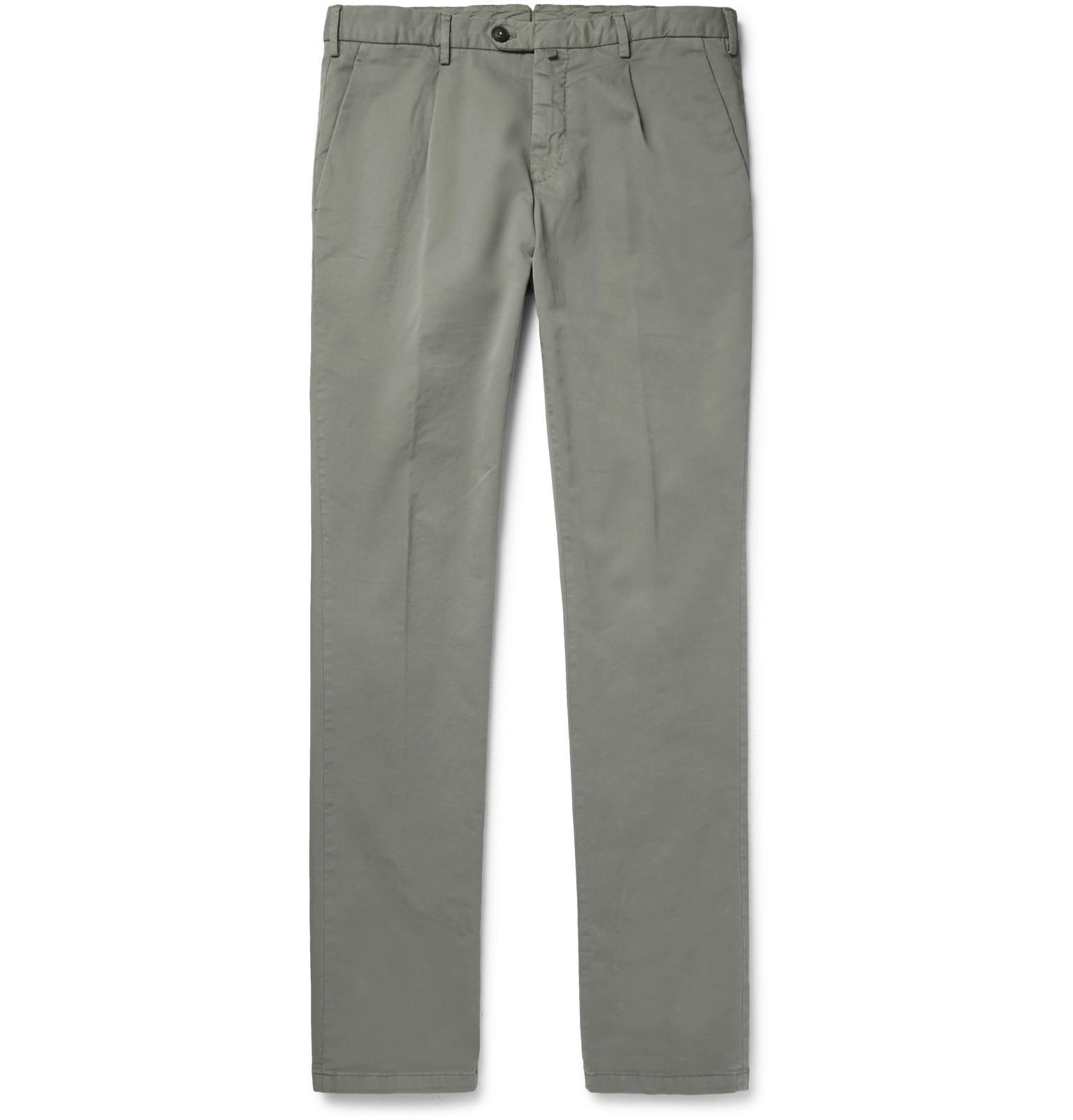 Thom Sweeney Pleated Stretch-cotton Chinos - Light gray awcvJURn