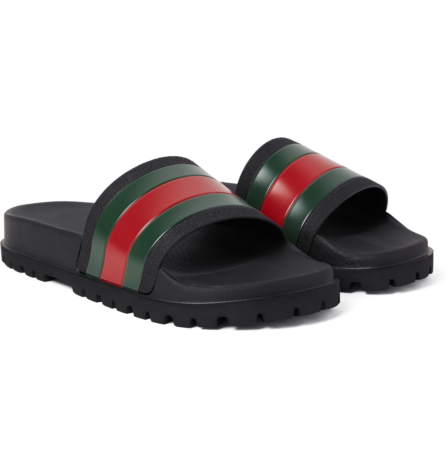 Gucci Striped Rubber Slides In Black For Men Lyst