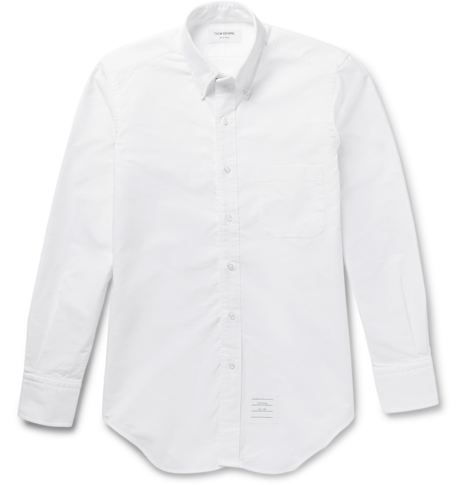 Lyst thom browne slim fit button down collar cotton for White button down collar oxford shirt