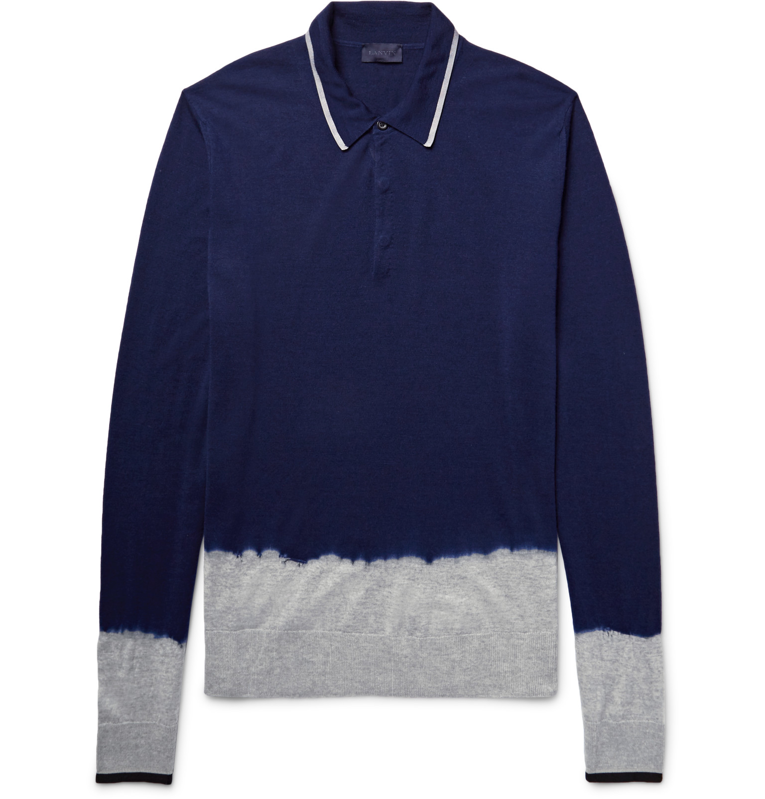 Lanvin dip dyed knitted merino wool polo shirt in blue for for Knitted polo shirt mens