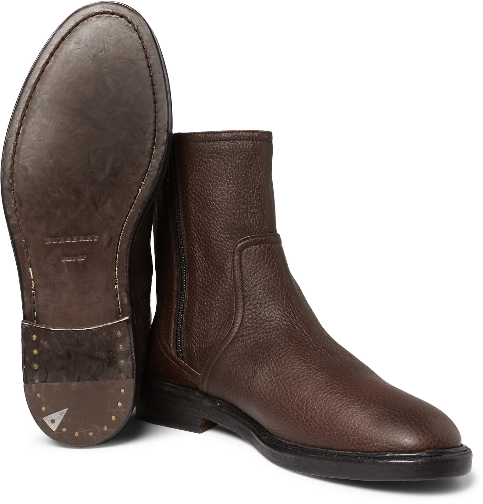 burberry towersley grained leather boots in brown for