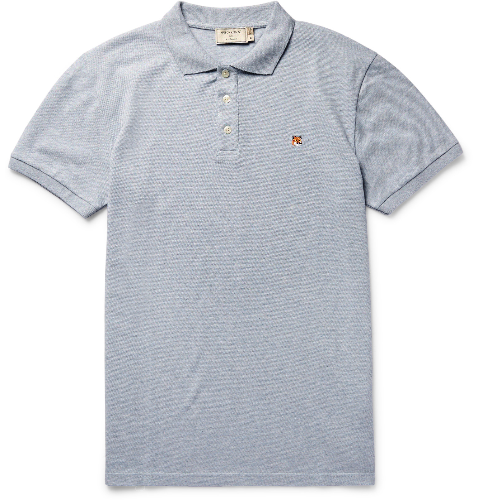 Maison Kitsun Slim Fit Cotton Piqu Polo Shirt In Blue