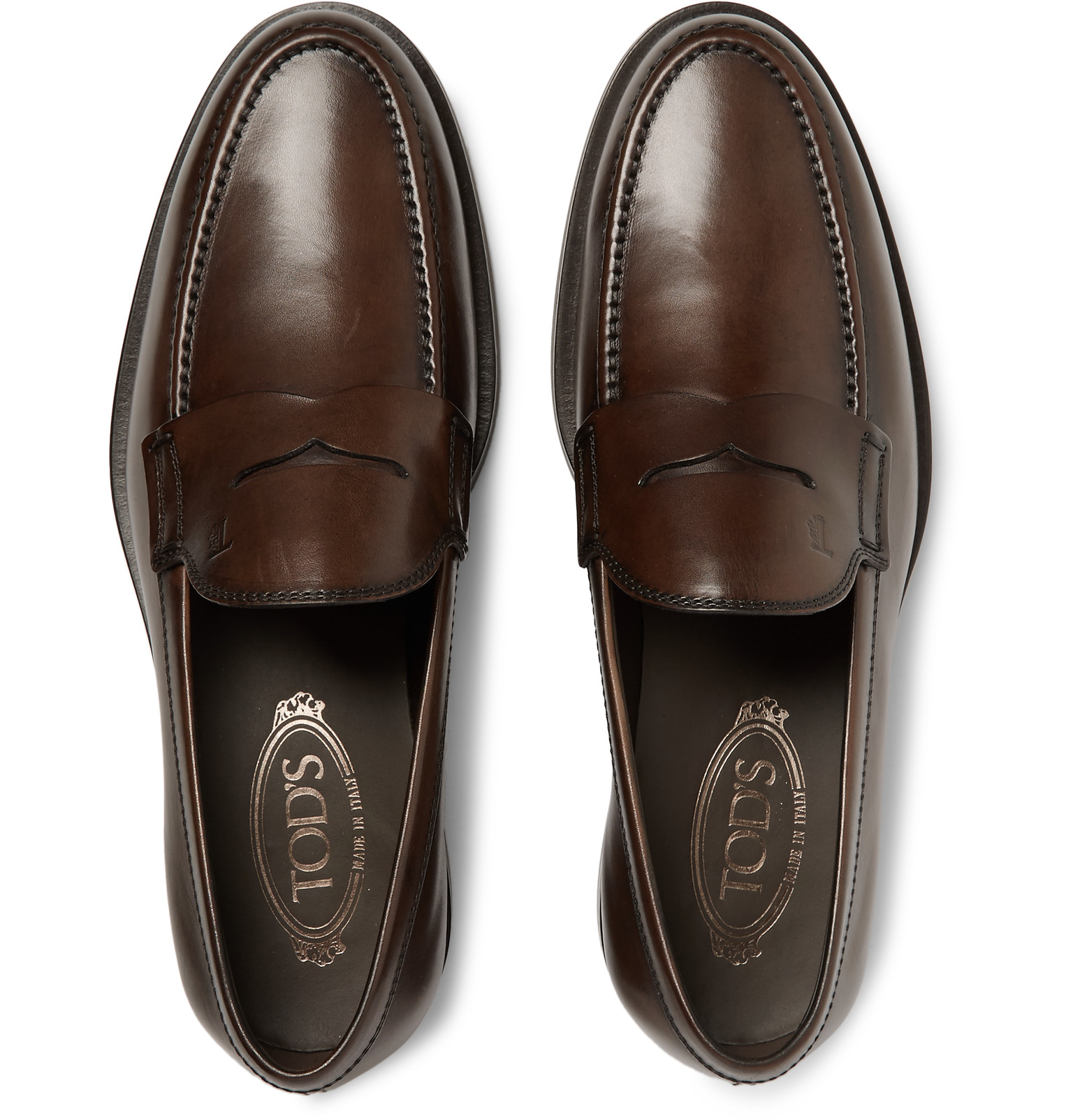 Tod's Leather Penny Loafers in Dark Brown (Brown) for Men