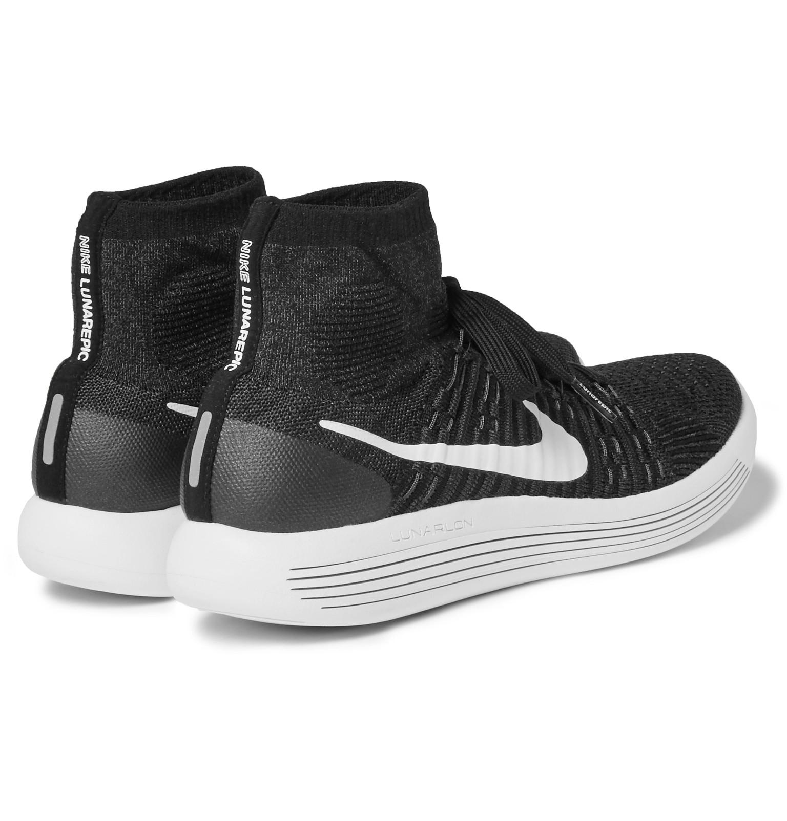 Nike Lunarepic Flyknit High-top Sneakers in Black for Men ...