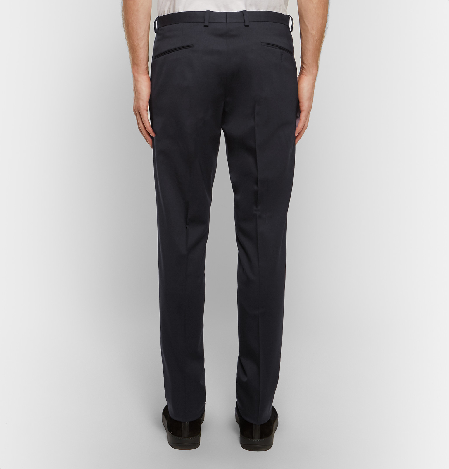 Jil Sander Slim-fit Wool-blend Gabardine Trousers in Blue for Men