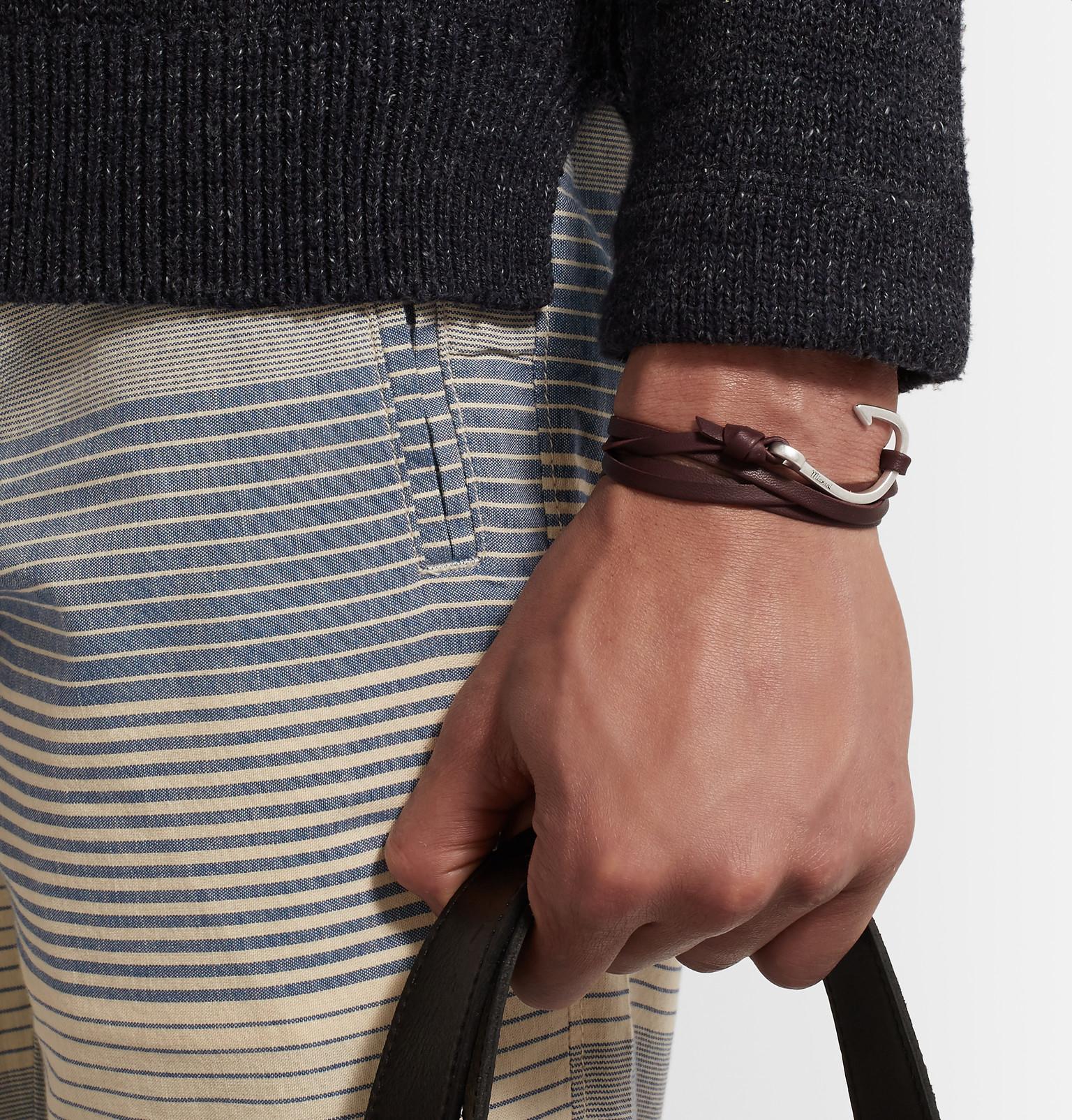 Miansai Black Hook on Leather Bracelet Fi46v